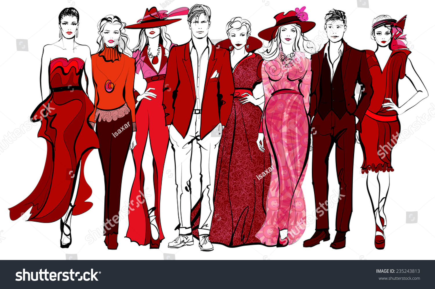 Colorful Fashion Women Men Defile Vector Stock Vector ...