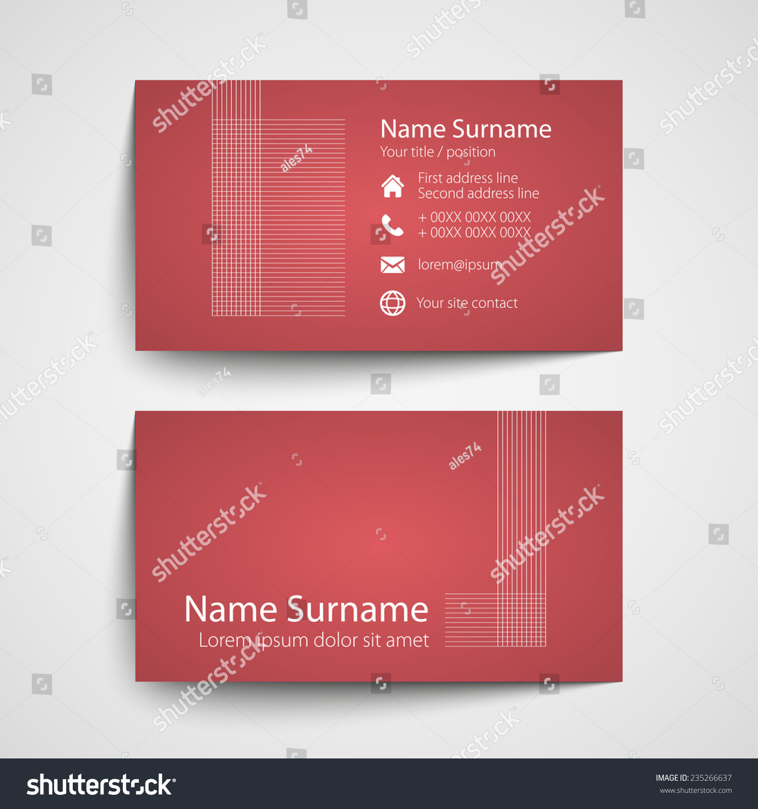 Modern Simple Business Card Template Vector Stock Vector 235266637 ...