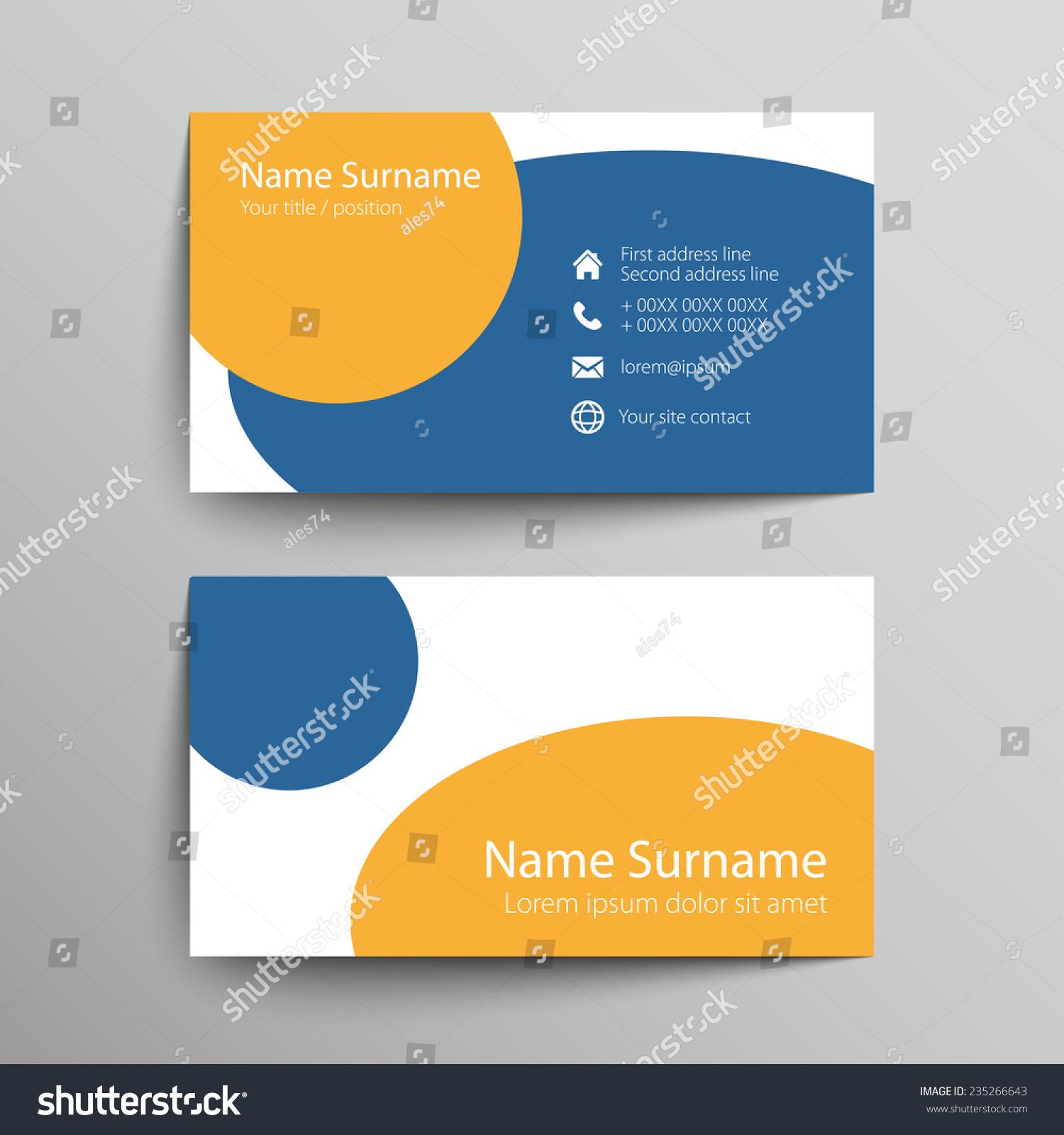 Modern Simple Business Card Template Vector Stock Vector 235266643 ...