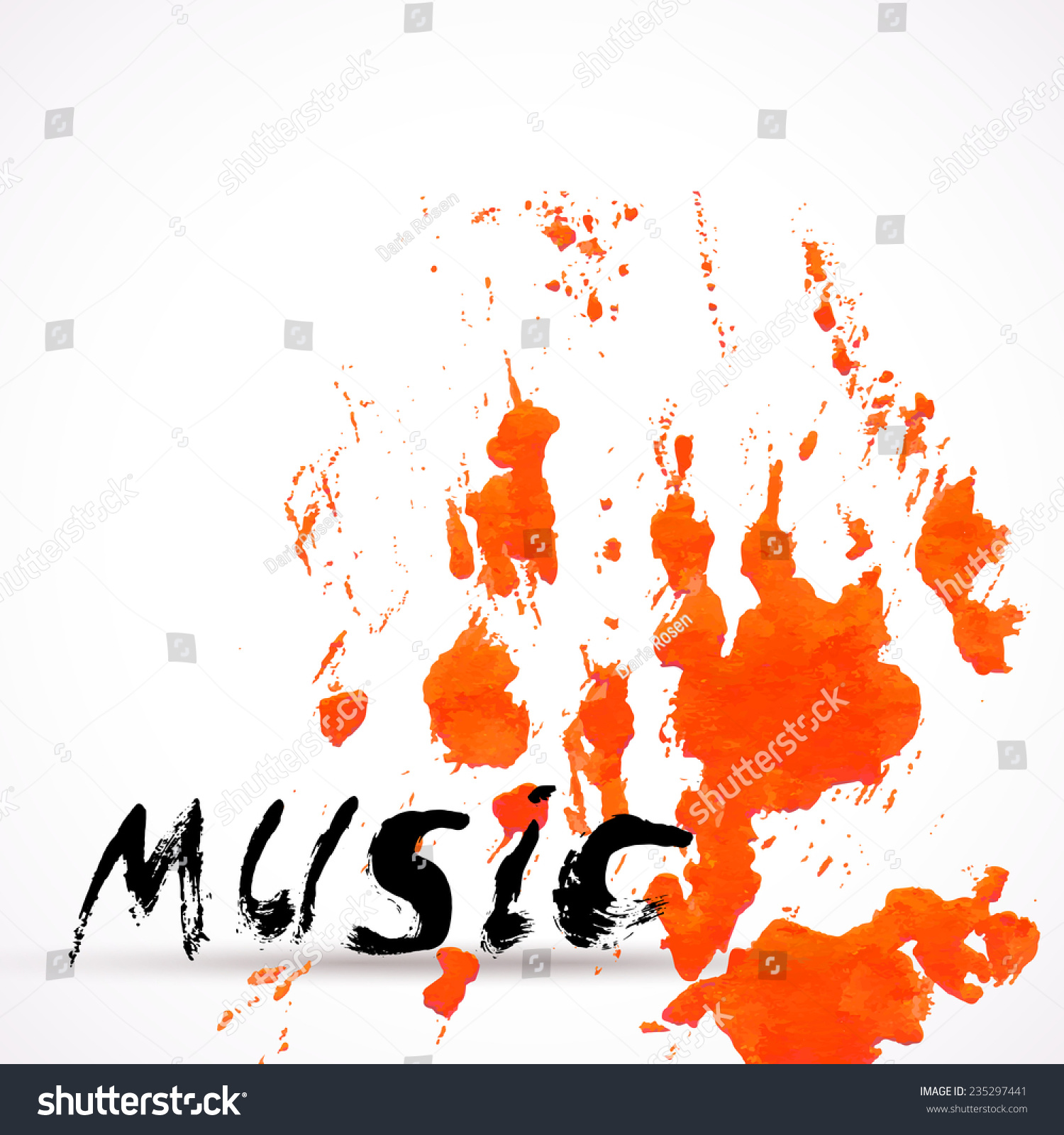 Vector Background With Watercolor Texture Orange Color Splash And Hand Written Word Music Design