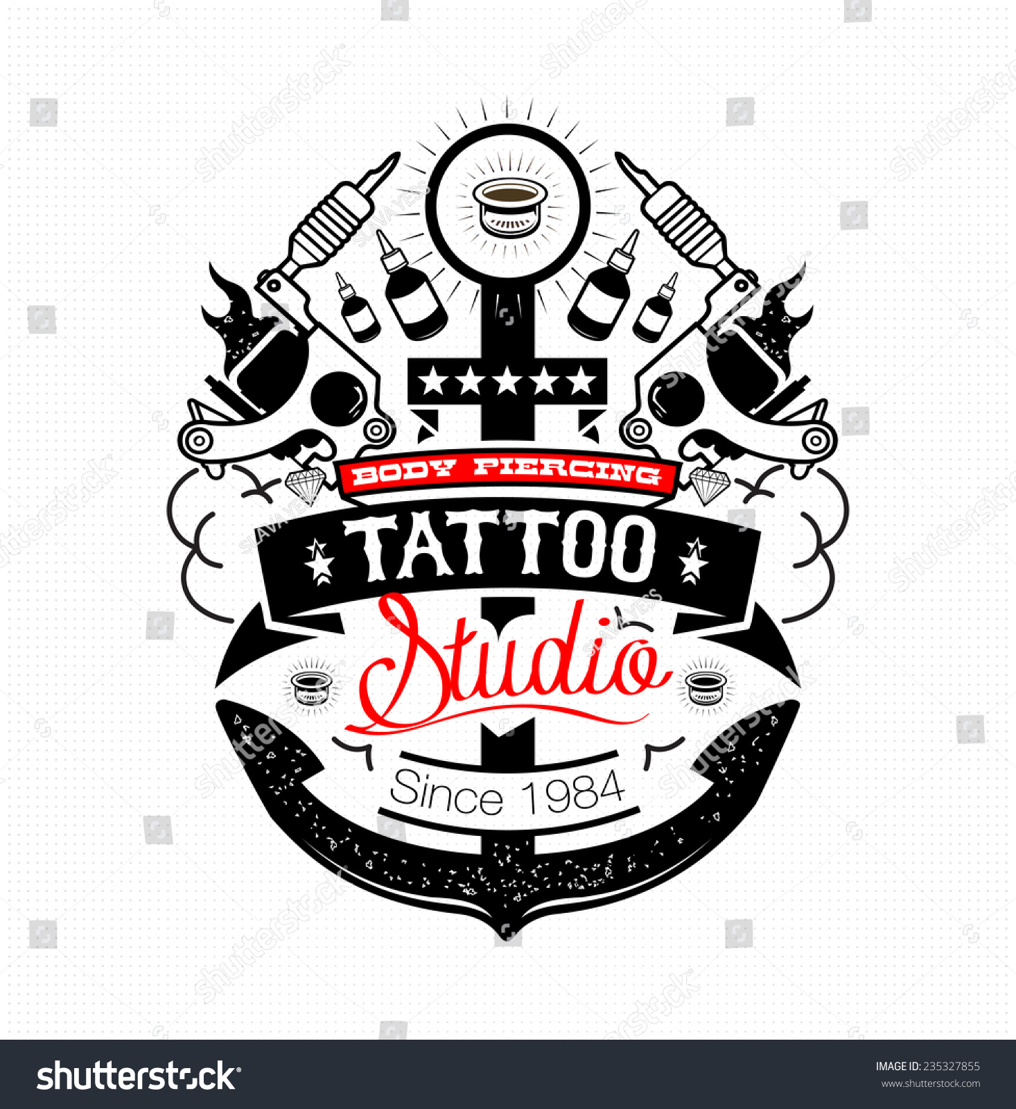 Since Studio Tattoo Body Piercing: Body Piercing Tattoo Studio Emblem Stock Vector 235327855