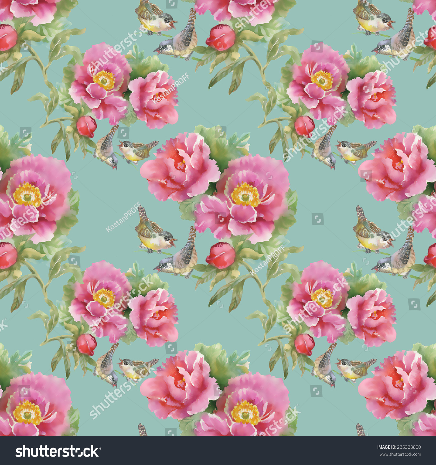 Beautiful Bright Birds Pink Flowers Pattern Stock Vector Royalty