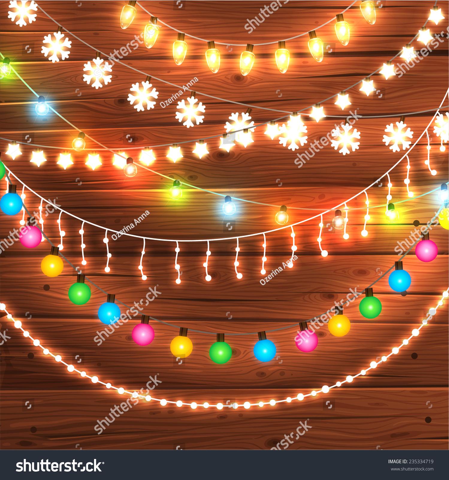 Set Glowing Christmas Lights Xmas Holiday Stock Vector