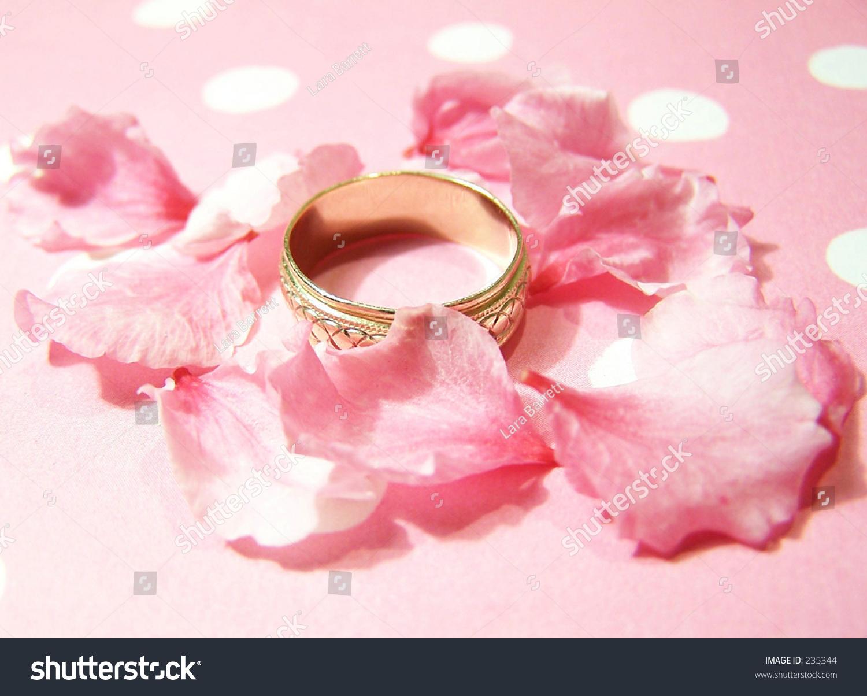Wedding Ring Petals Pink Background Stock Photo (Royalty Free ...