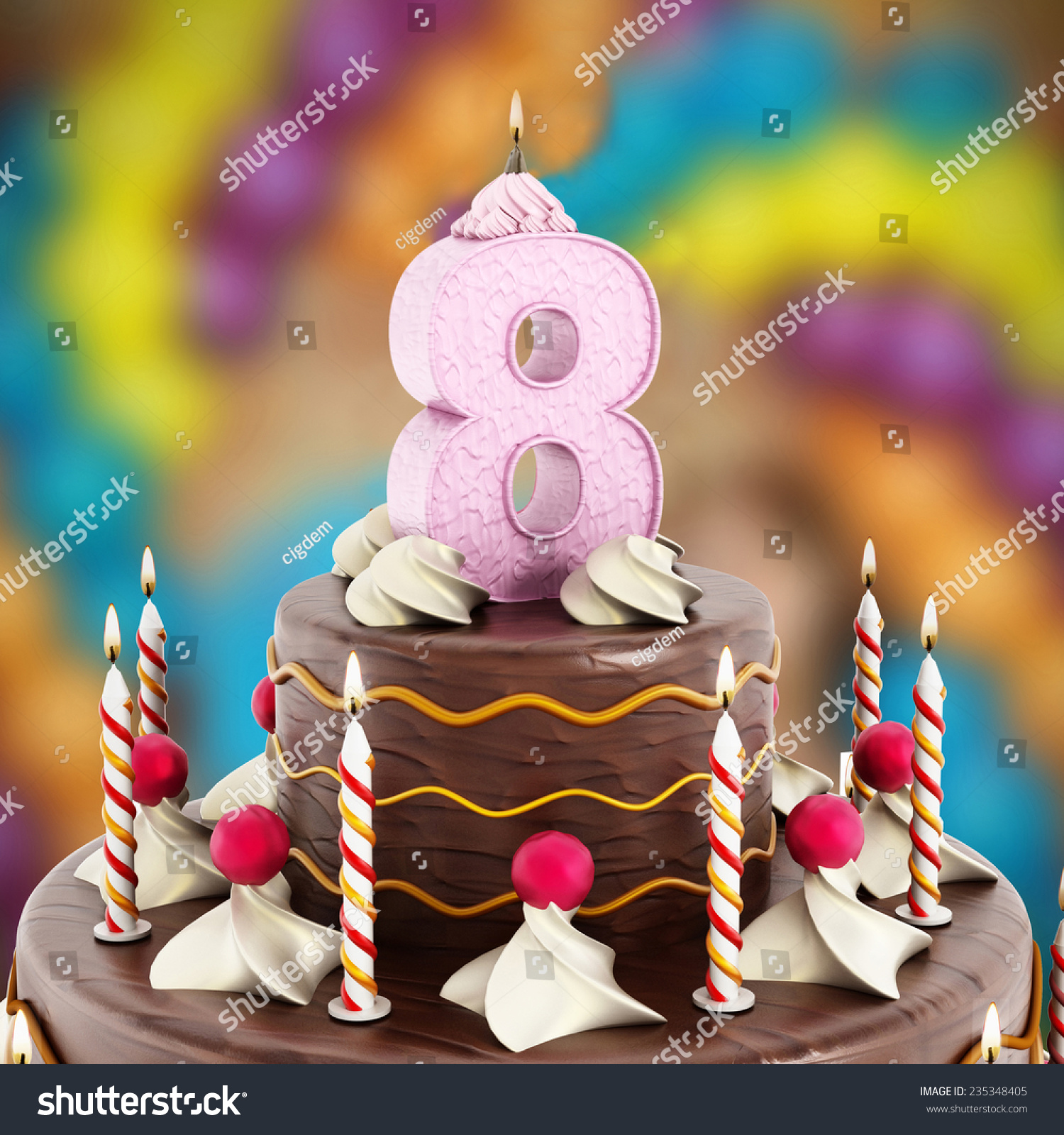 Birthday Cake Number 8 Lit Candle Stock Illustration 235348405