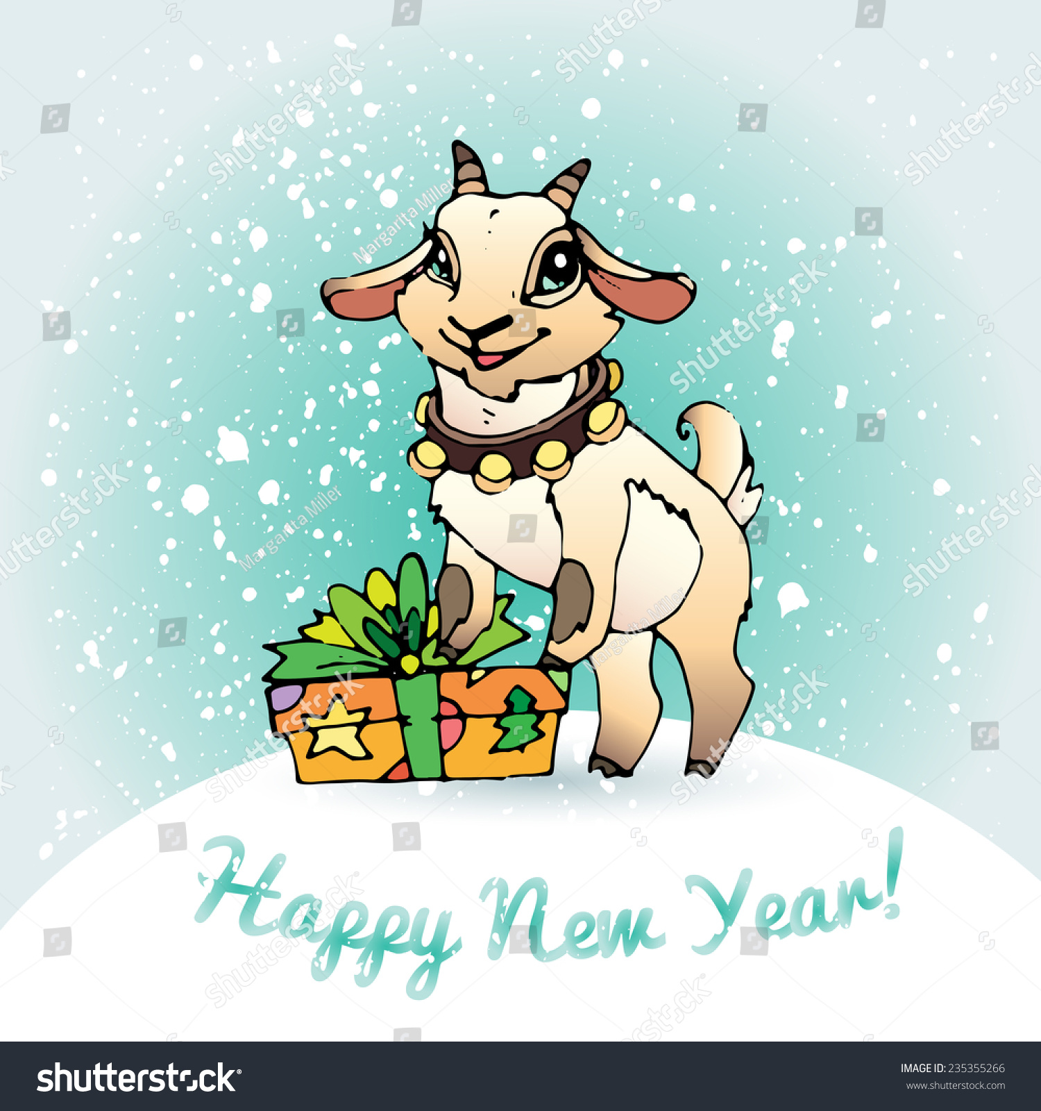 christmas goat with a gift happy new year