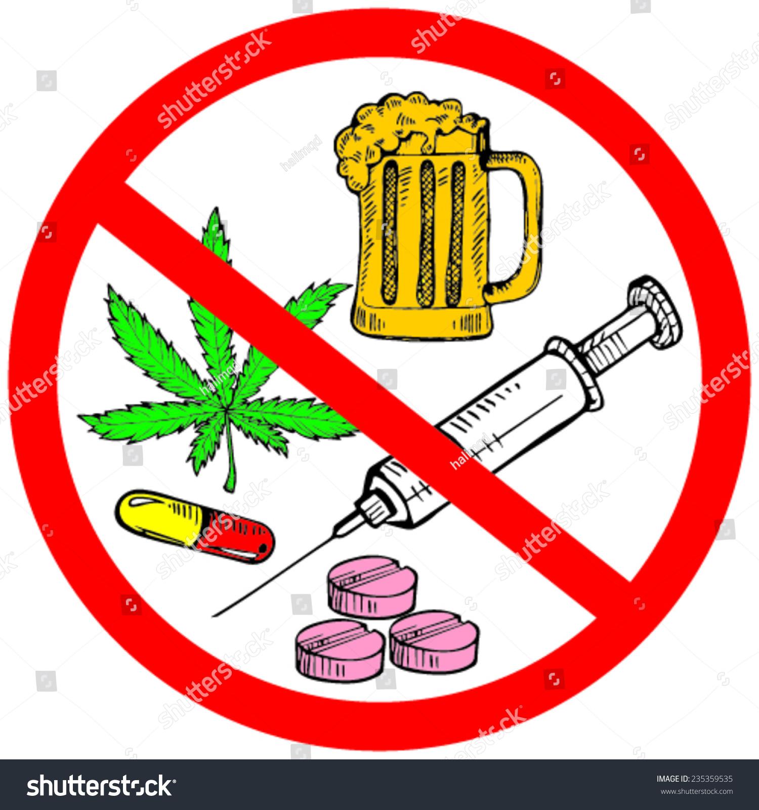 No Drugs Icon Vector Illustration Stock Vector 235359535