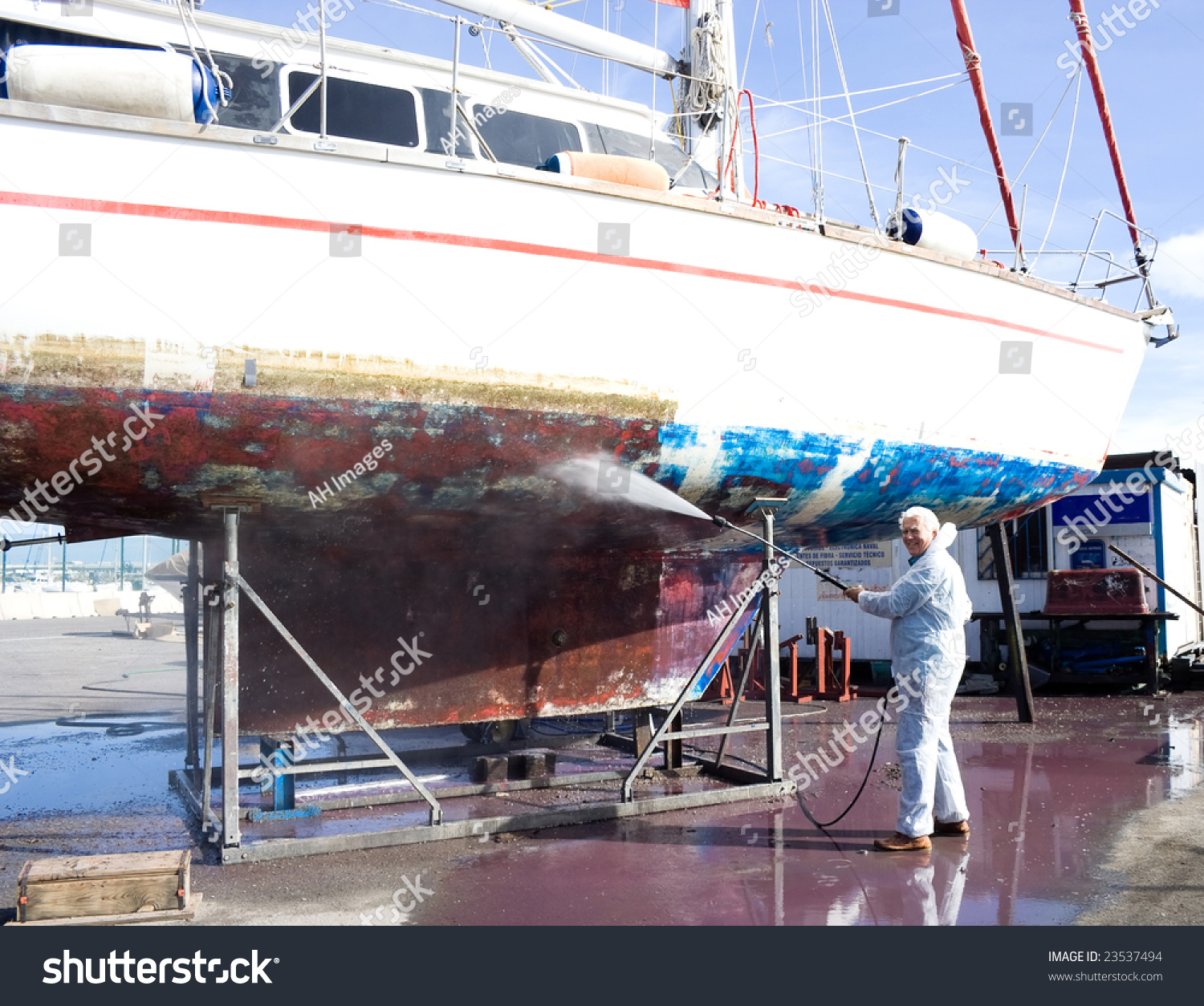 Cleaning bottom of boat