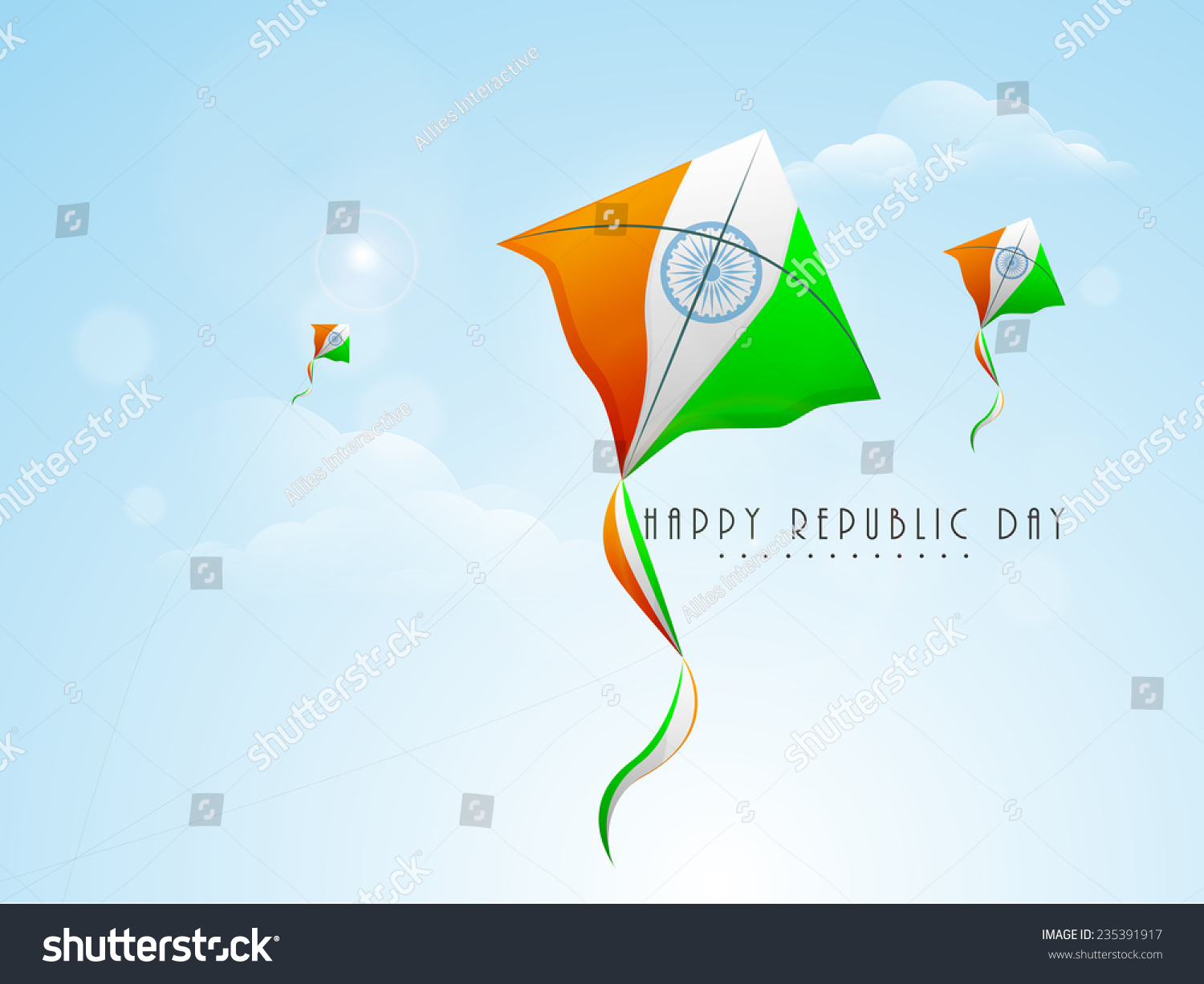Indian Flag With Different Views: Indian Republic Day Celebration Flying Kites Stock Vector