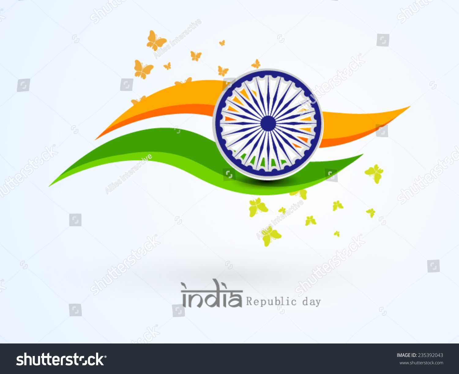 Colors website ashoka - Beautiful National Flag Color Waves With Ashoka Wheel And Flying Butterflies For Indian Republic Day Celebration