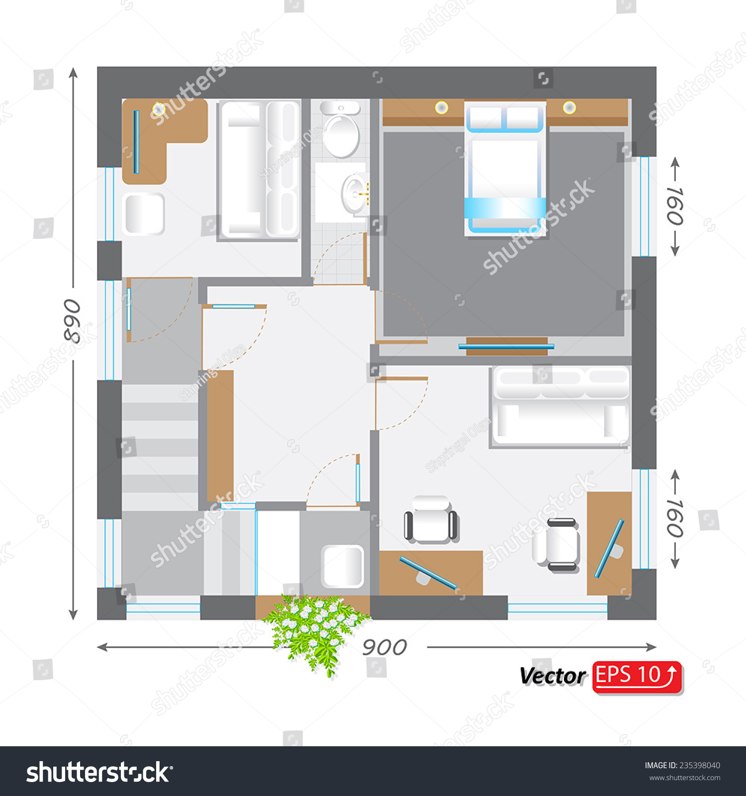 Part Architectural Project Ground Floor Plan Stock Vector