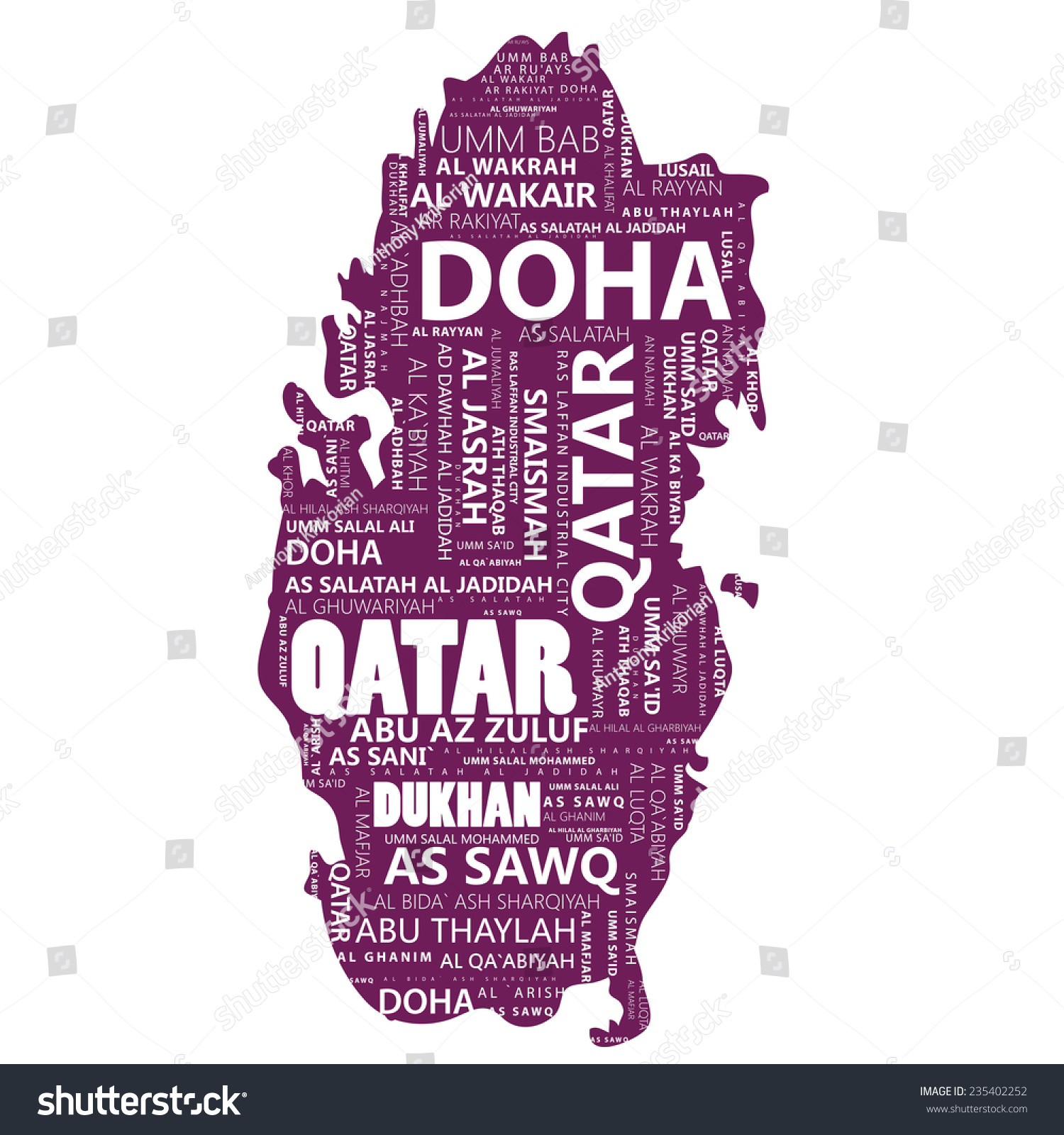 Qatar Map Some City Names Vector Stock Image | Download Now