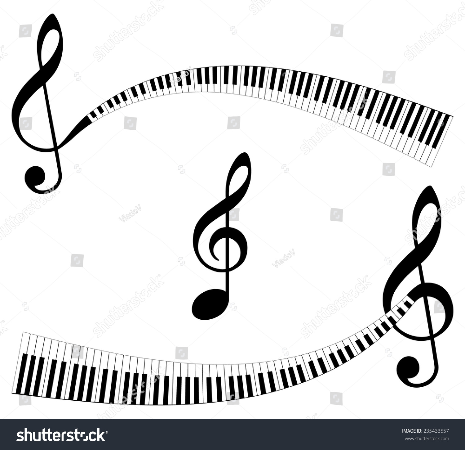 Clef Keyboard Ending Set Abstract Musical Stock Vector Royalty Free