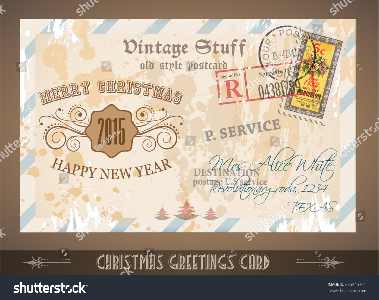 Vintage Postcard Christmas Greetings Cards Postage Stock Vector Royalty Free 235445791