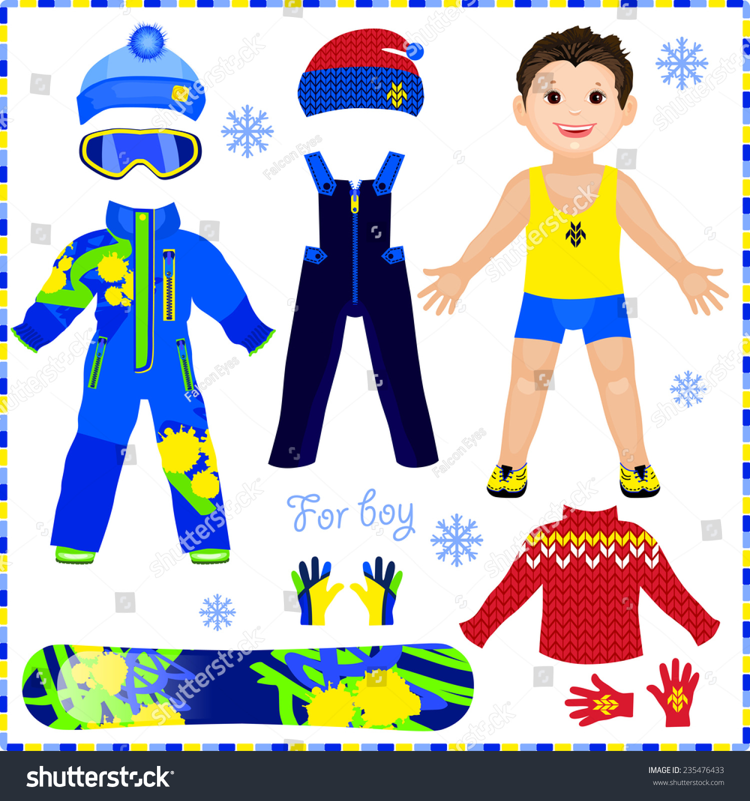 Paper Doll Set Clothes Winter Sportswear Stock Vector
