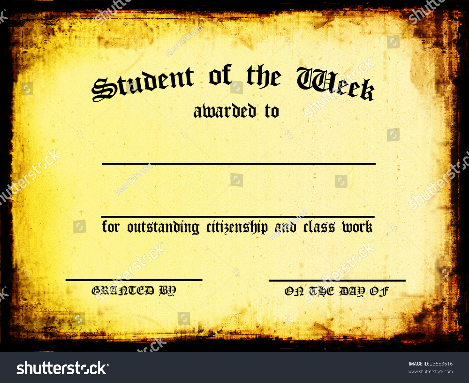 Customizable student week certificate stock illustration 23553616 customizable student of the week certificate xflitez Choice Image