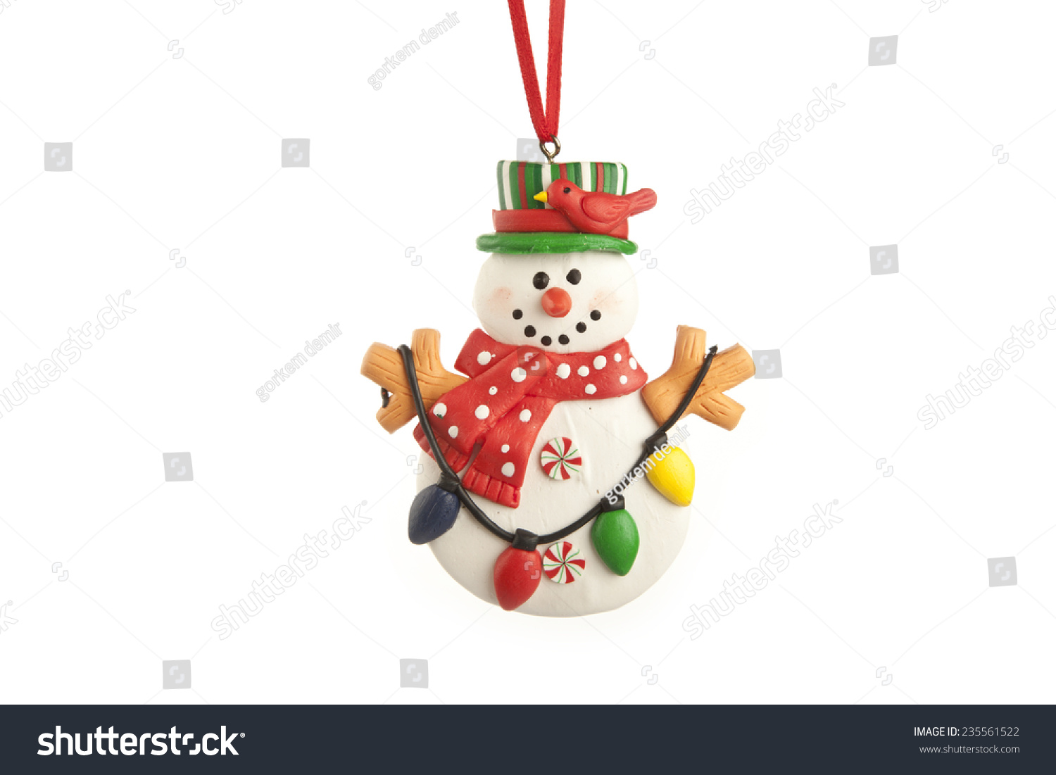 Christmas tree decorations snowman stock photo 235561522