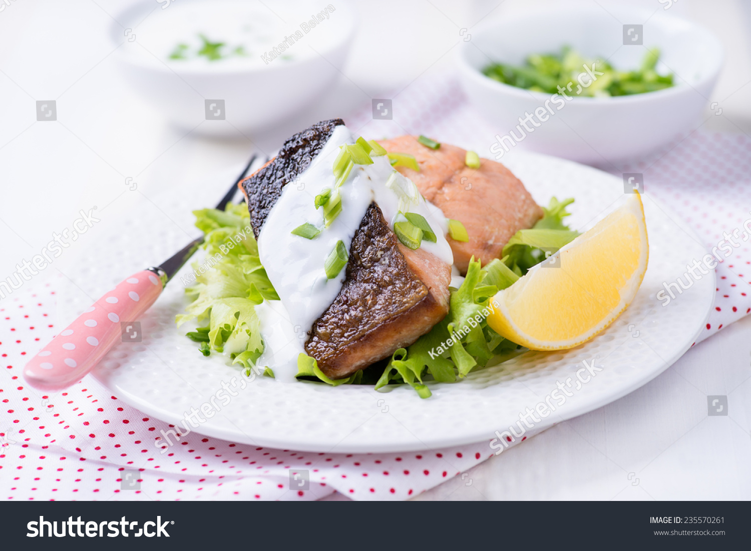 Grilled red fish fillet with green salad and yogurt sauce for Yogurt sauce for fish