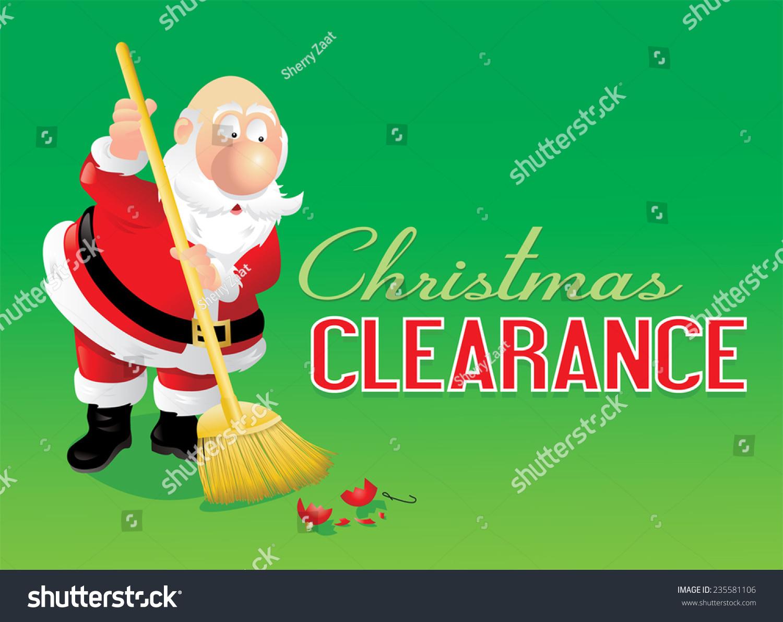 Santa Sweeping Ornament Preparing Christmas Clearance Stock Vector ...