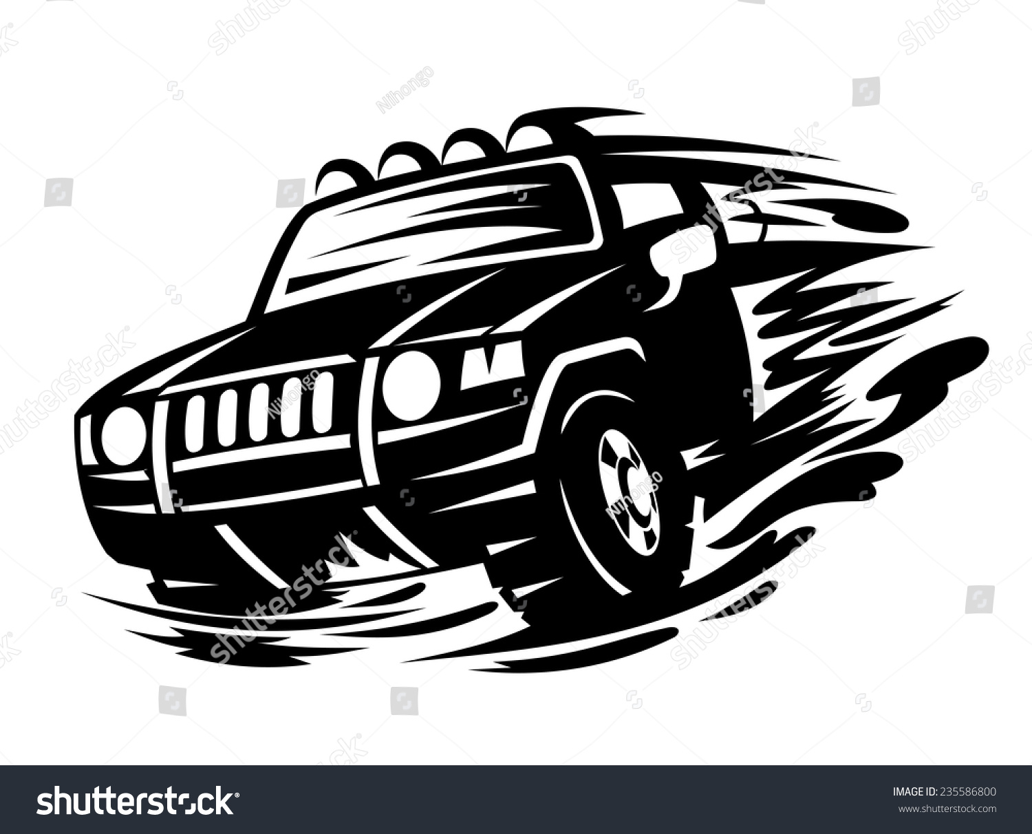 offroad vehicle black color tattoo design stock vector 235586800 shutterstock. Black Bedroom Furniture Sets. Home Design Ideas