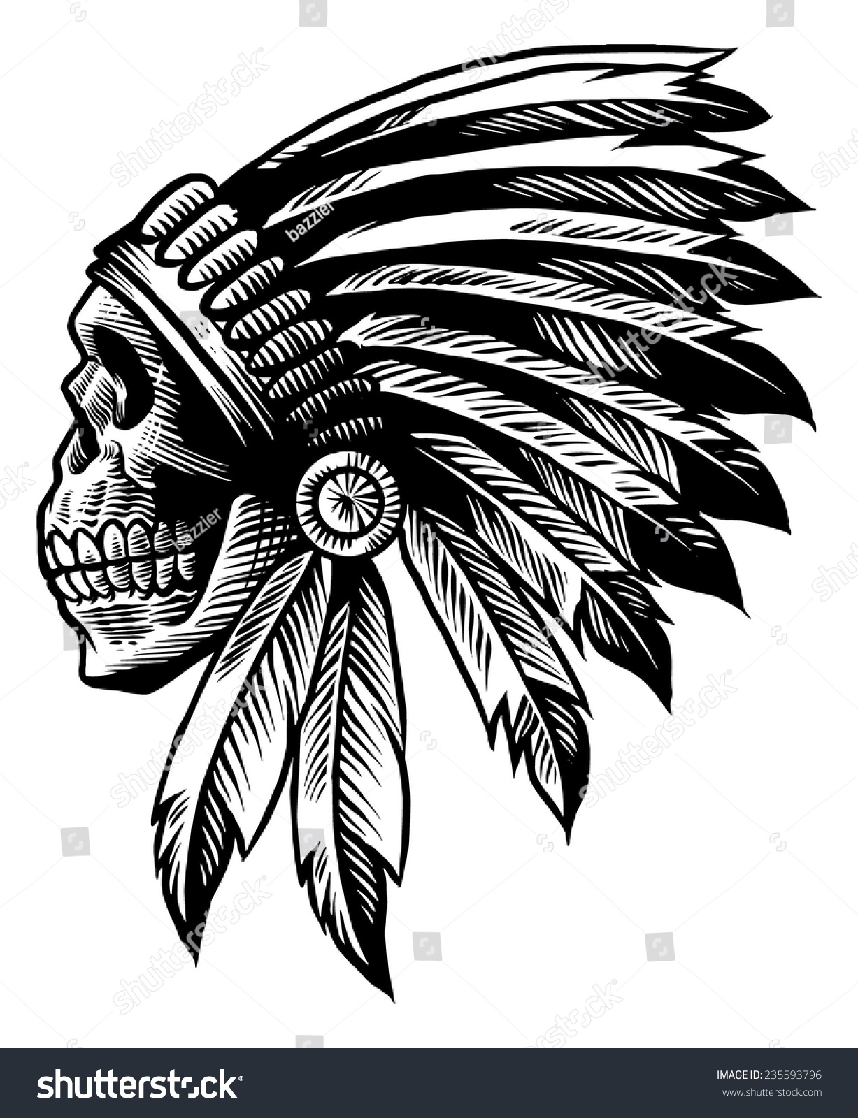 Uncategorized Indian Drawing royalty free skull indian chief in hand drawing style 235593796 stock vector