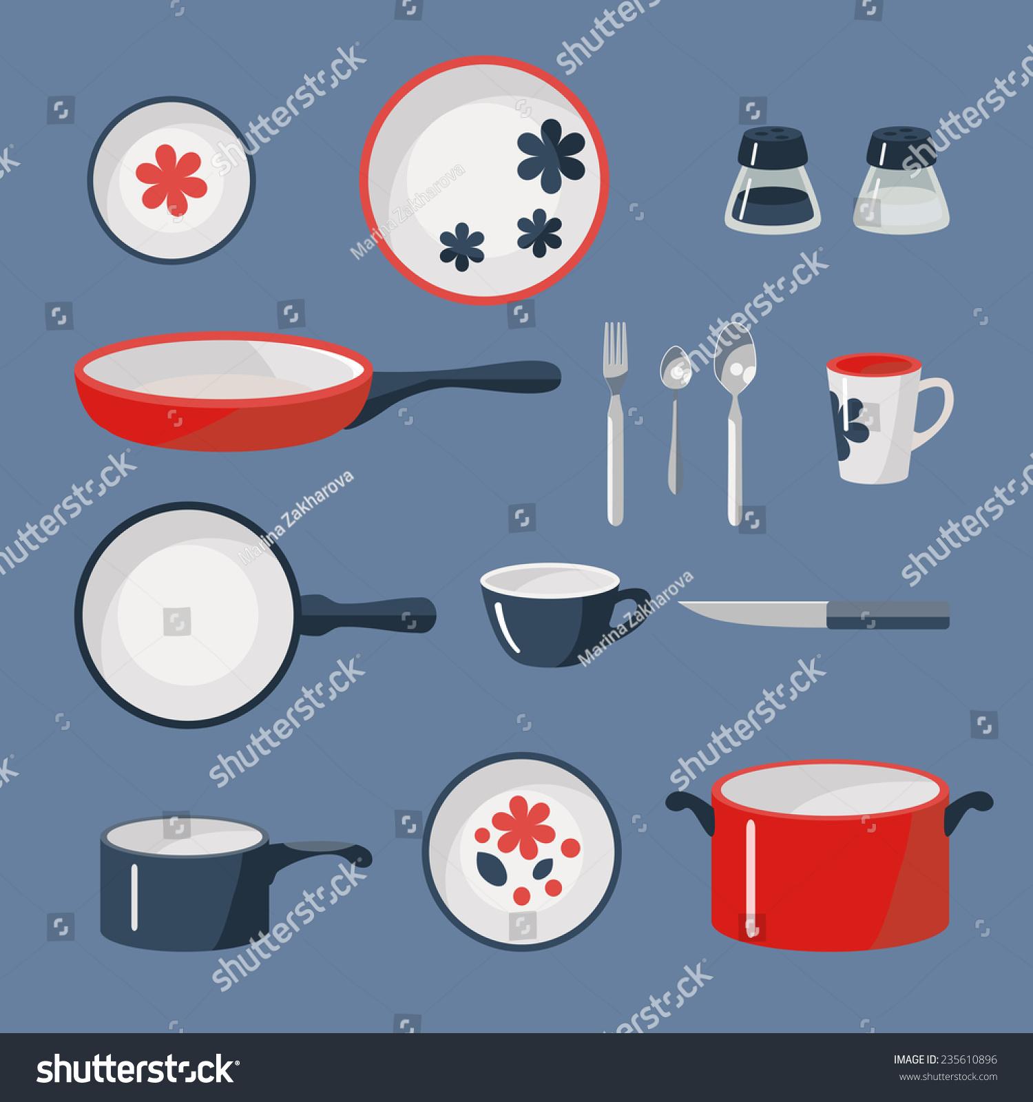 Vector Set Of Crockery And Kitchen Wares.