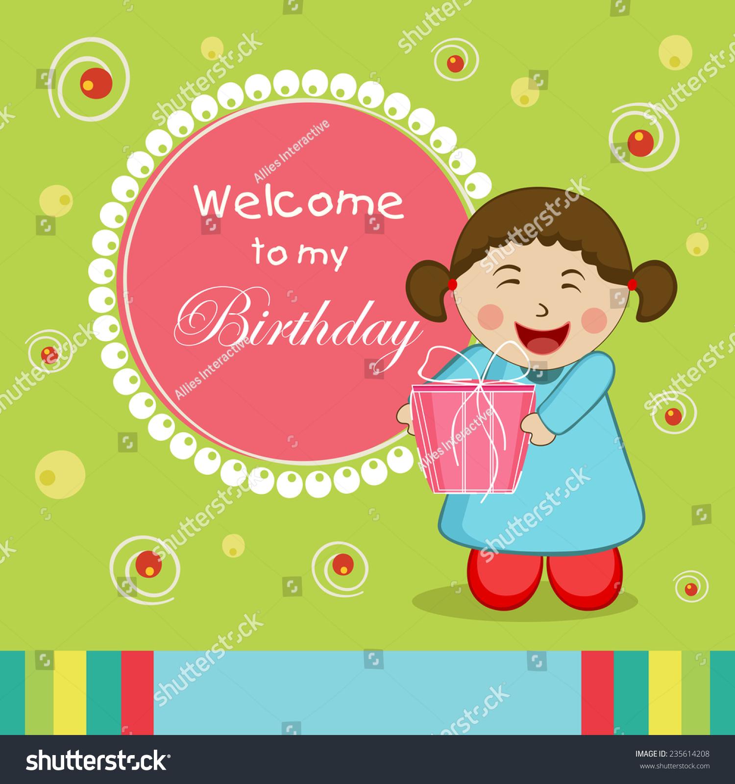 Kids Birthday Celebration Invitation Card Design Stock Vector HD ...