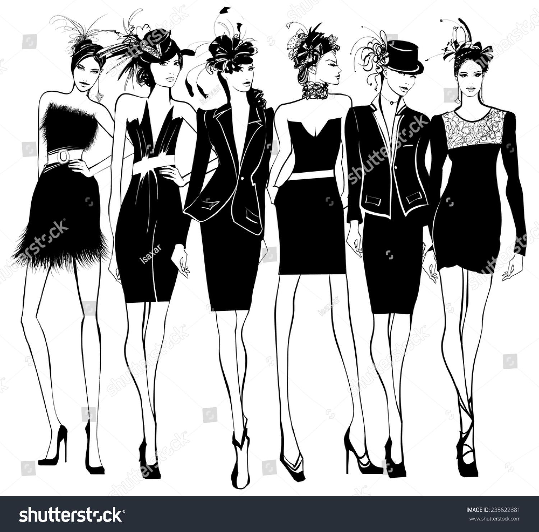 Woman Shopping In Fur Coat Fashion Illustration
