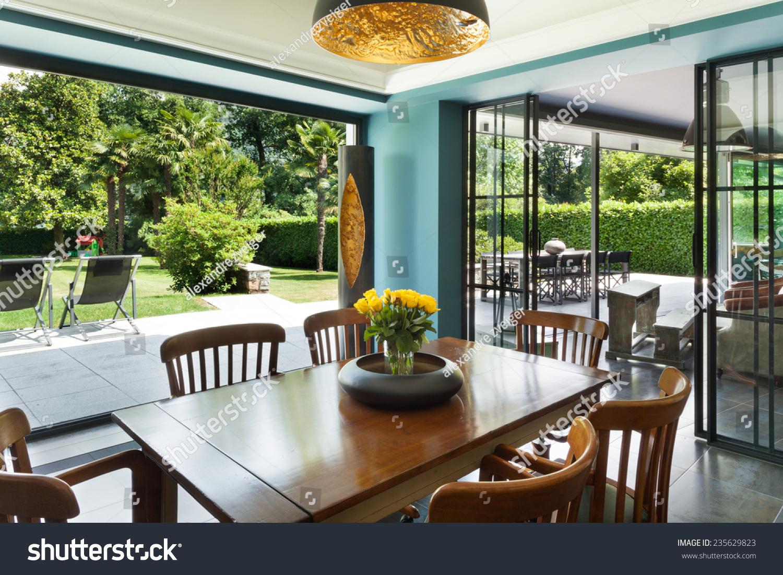Interior modern house dining room veranda stock photo 235629823 shutterstock - Veranda dining rooms ...