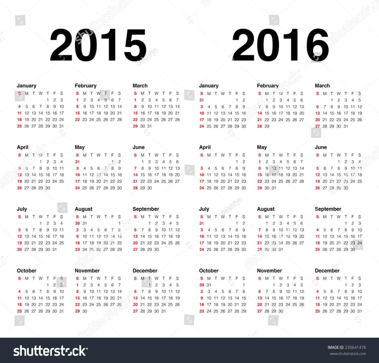 simple calendar 2015
