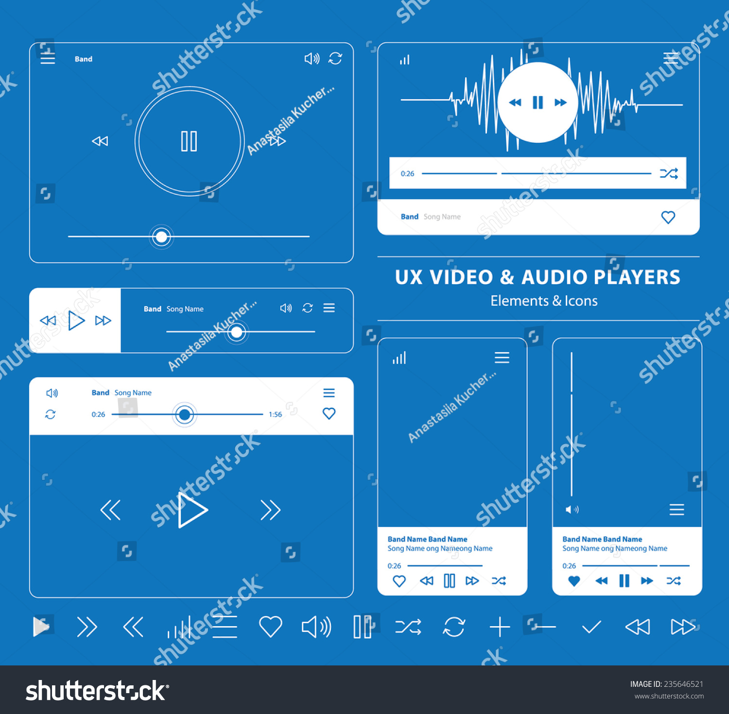 Blueprint set ux audio video player vectores en stock 235646521 blueprint set of ux audio and video player templates in vector with design elements and icons malvernweather Images