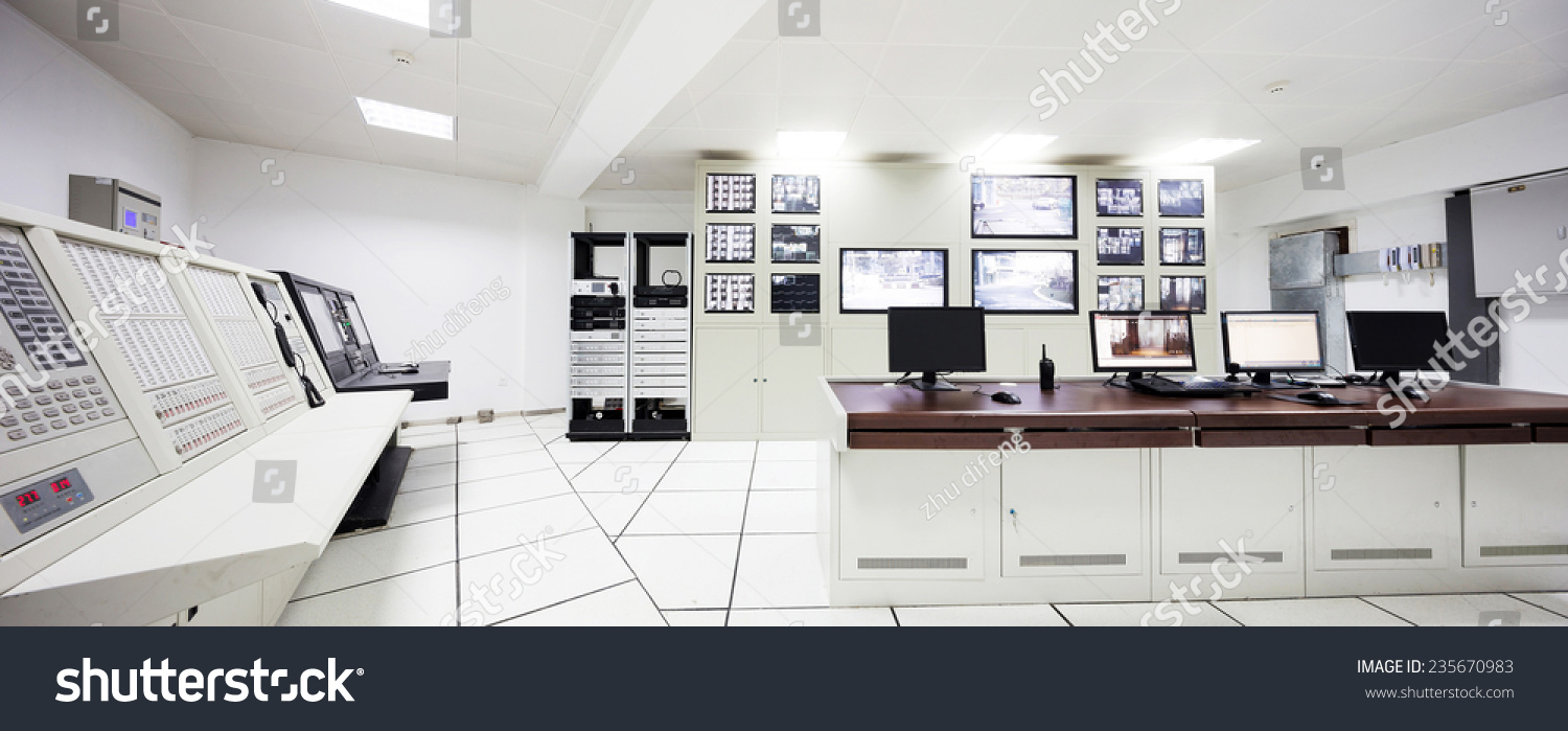 Control Room Furniture Property surveillance control room interior airport stock photo 235670983