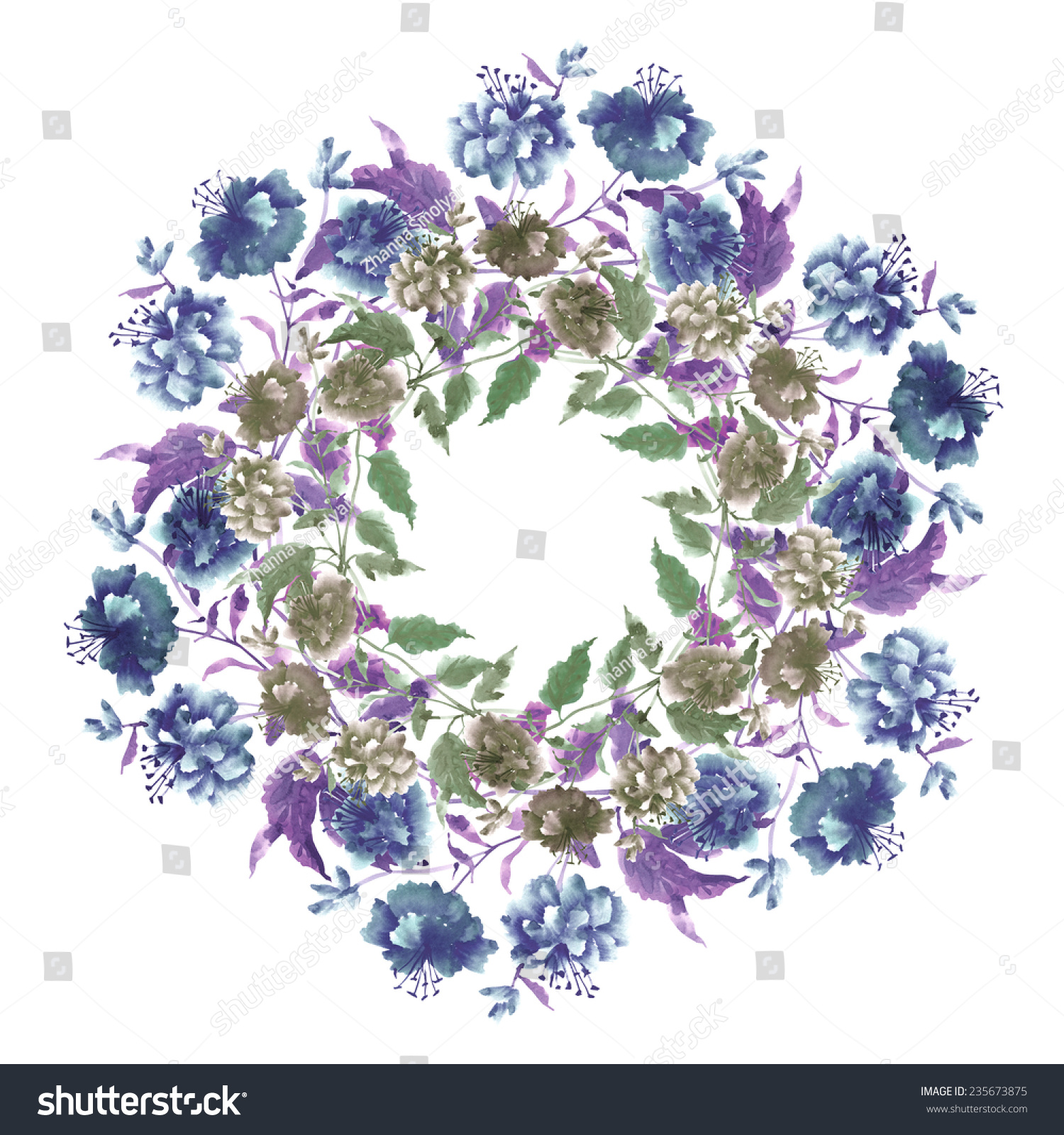 Watercolor beautiful blue flowers wreath hand painted illustration id 235673875 izmirmasajfo