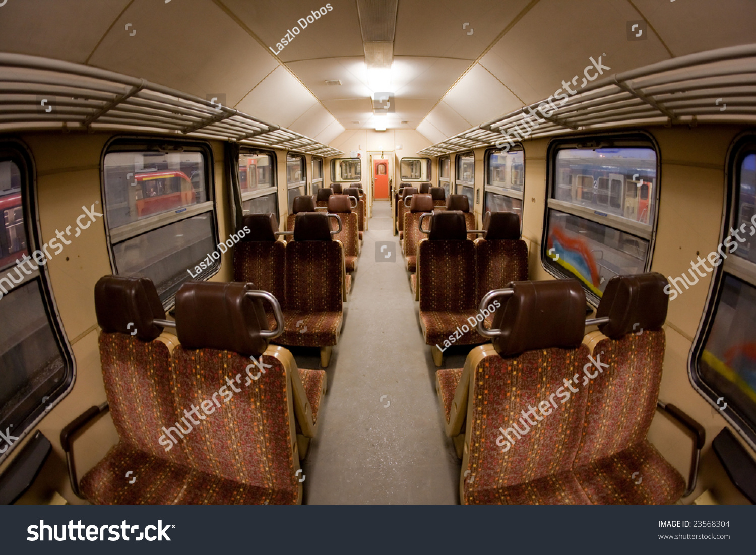 railroad passanger car interior shot with fish eye lens stock photo 23568304 shutterstock. Black Bedroom Furniture Sets. Home Design Ideas
