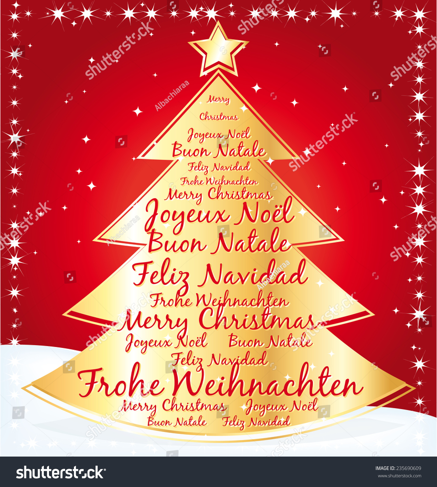 Gold Christmas Tree Best Wishes Several Stock Illustration 235690609 ...