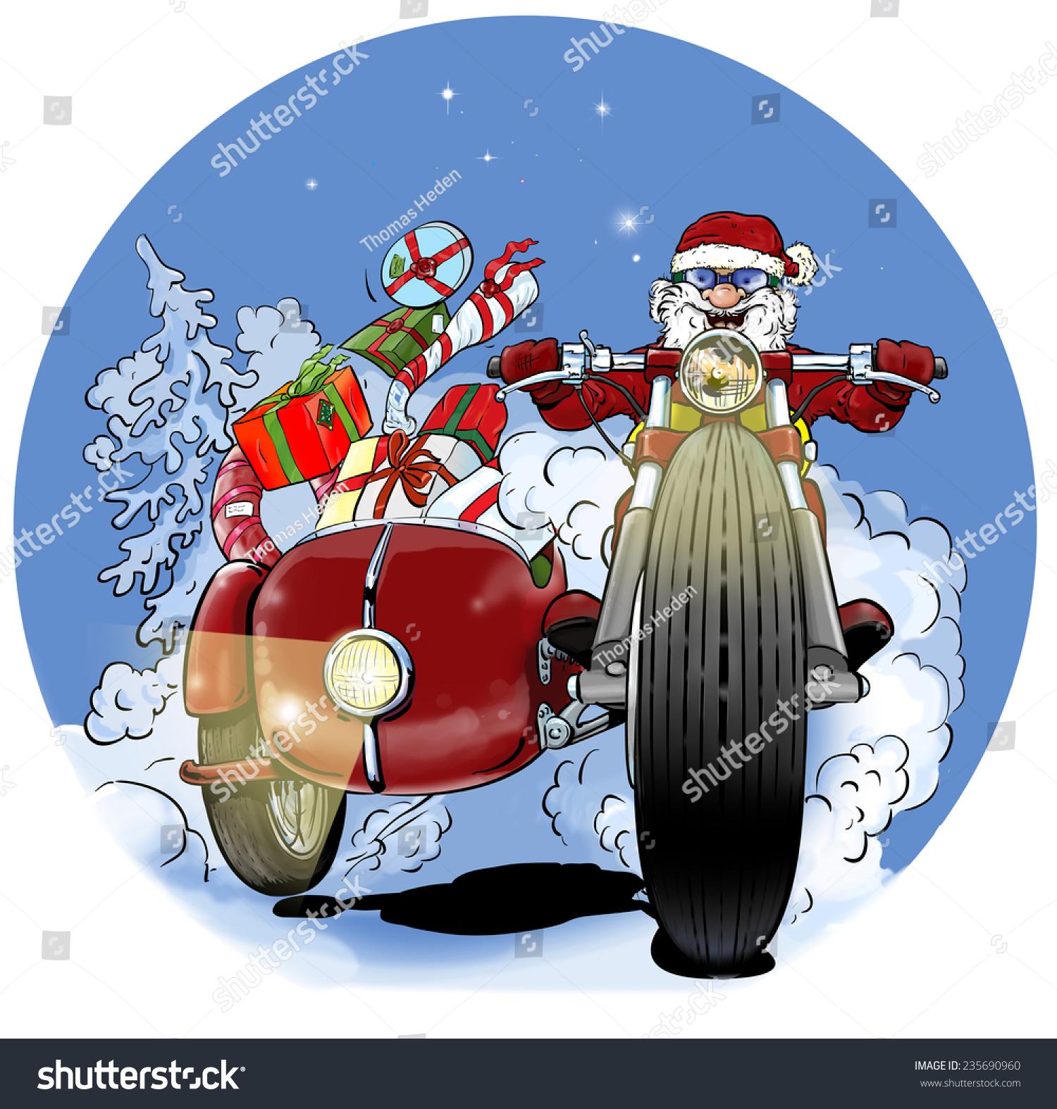 Santa Claus Biker Christmas Gifts Sidecar Stock Illustration ...
