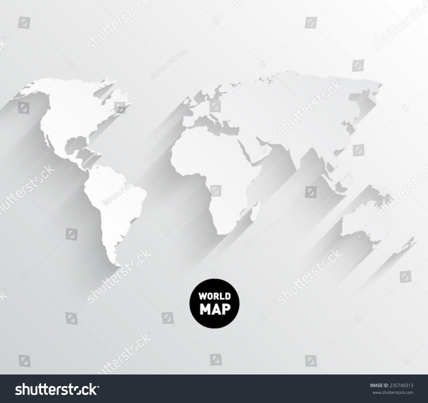 vector world map background with long shadow and flat design style clean and modern