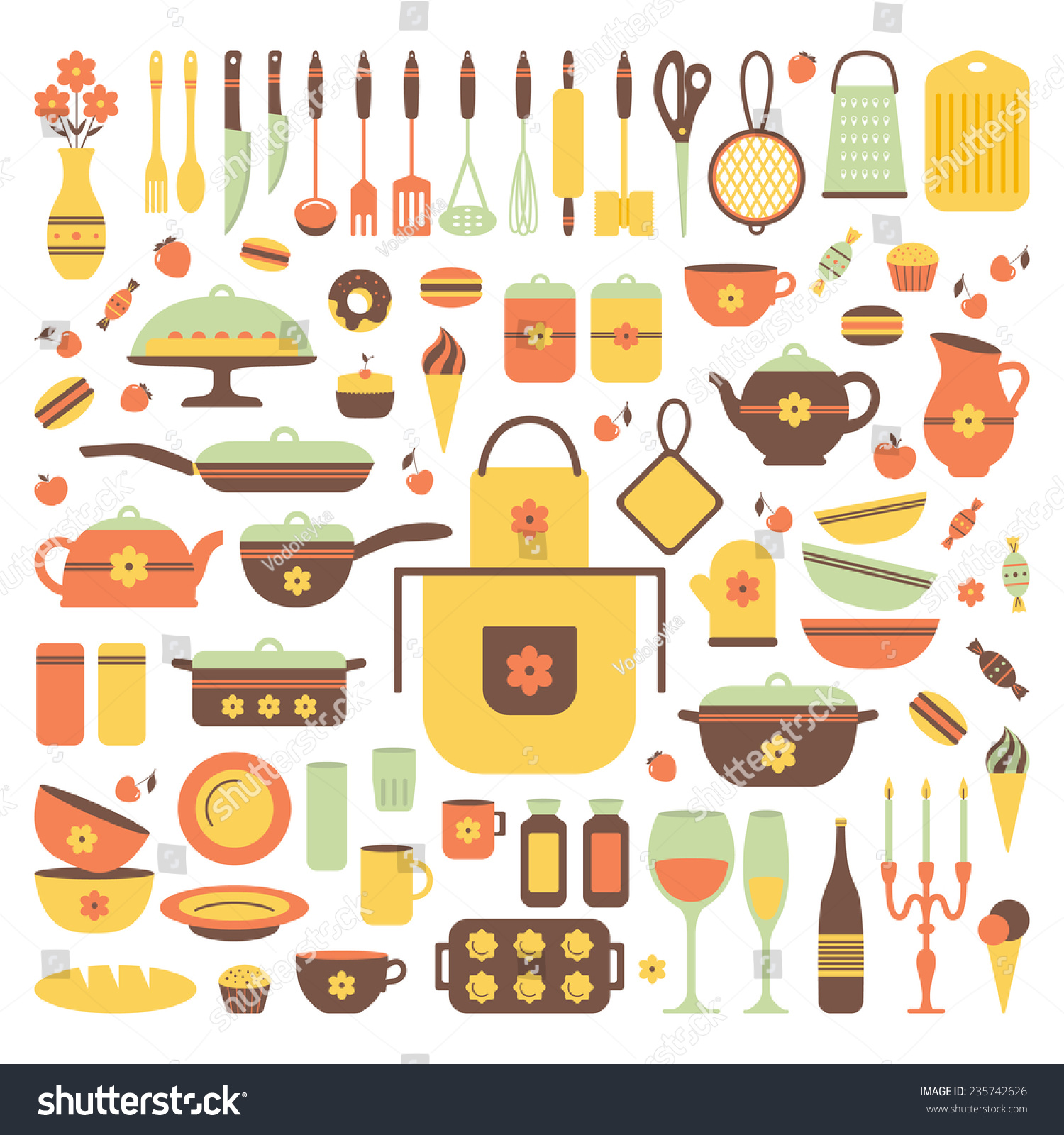 Kitchen Utensils Background: Set Of Kitchen Utensils And Food, Isolated Objects