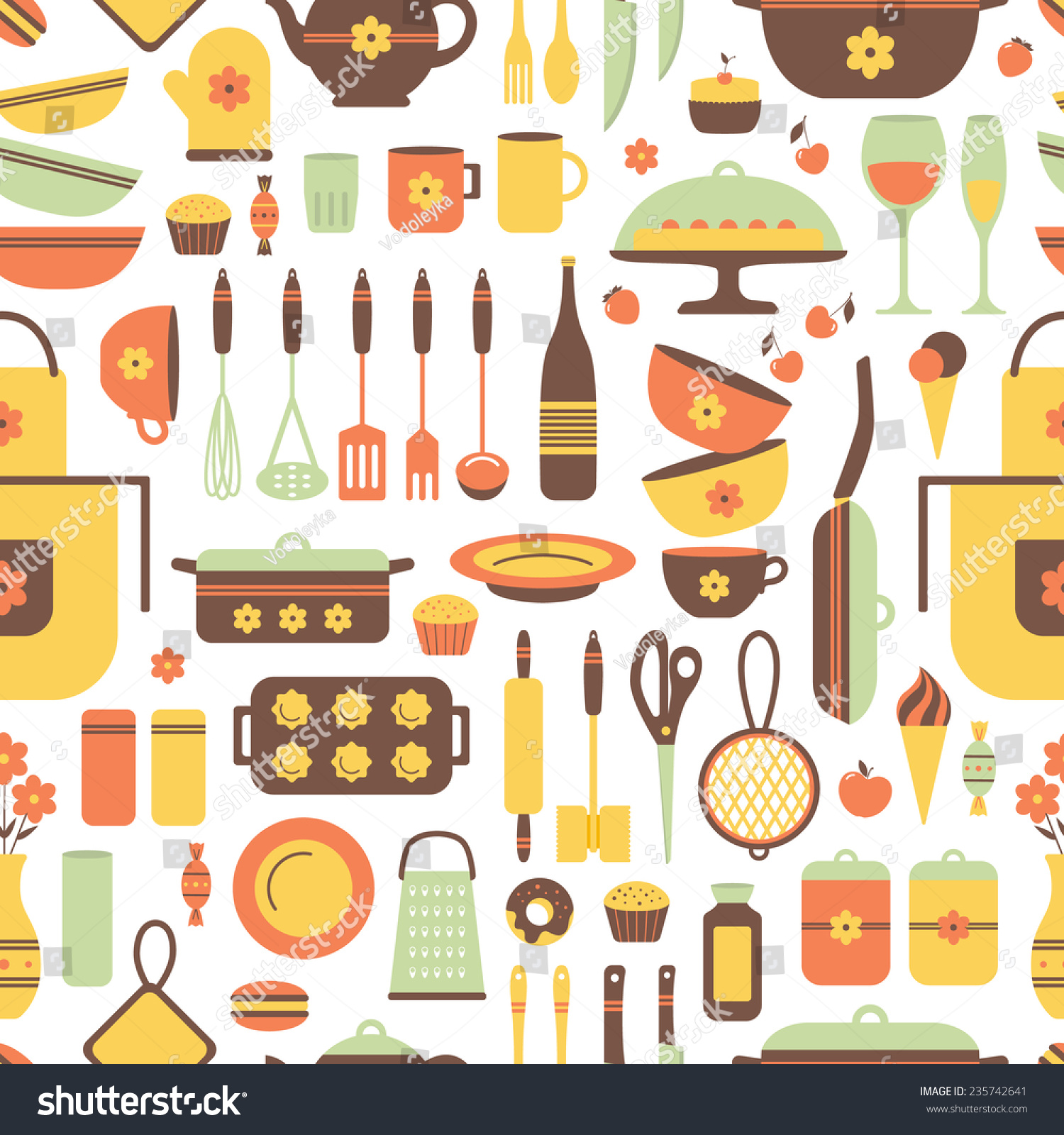 Kitchen Utensils Background: Set Kitchen Utensils Food Isolated Objects Stock Vector
