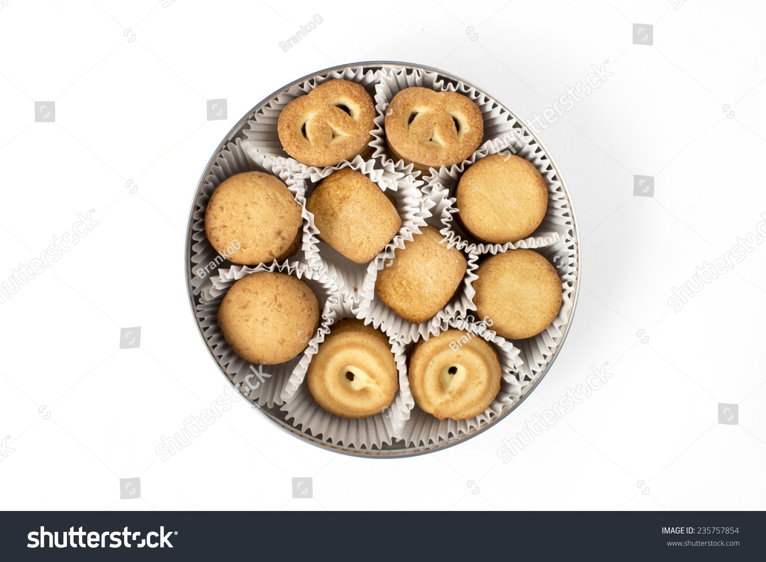 Tin Christmas Butter Cookies Stock Photo Edit Now 235757854