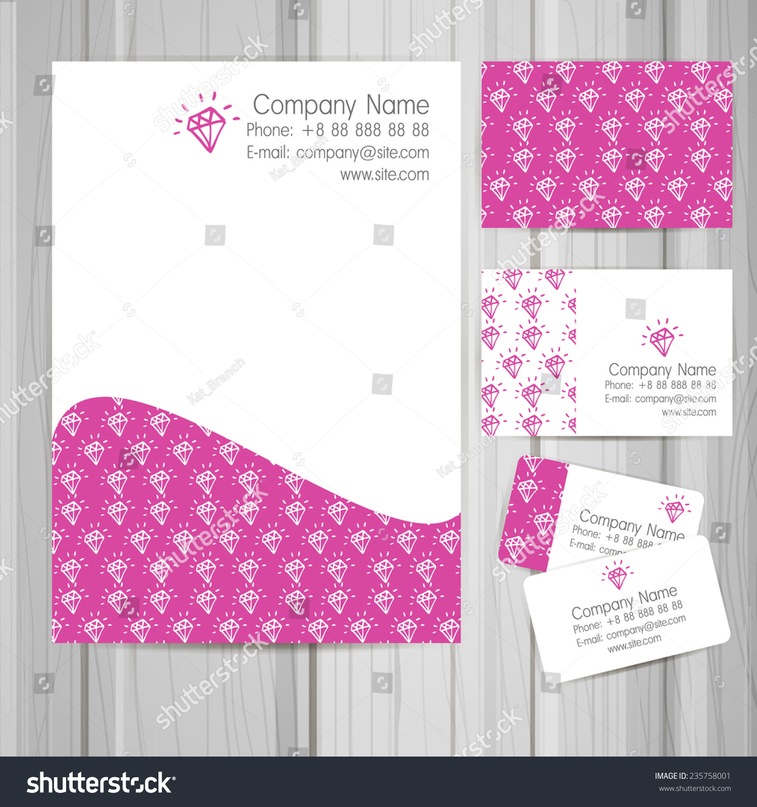 Set Of Business Card And Invitation Templates With Jewel For Your Design Vector Background