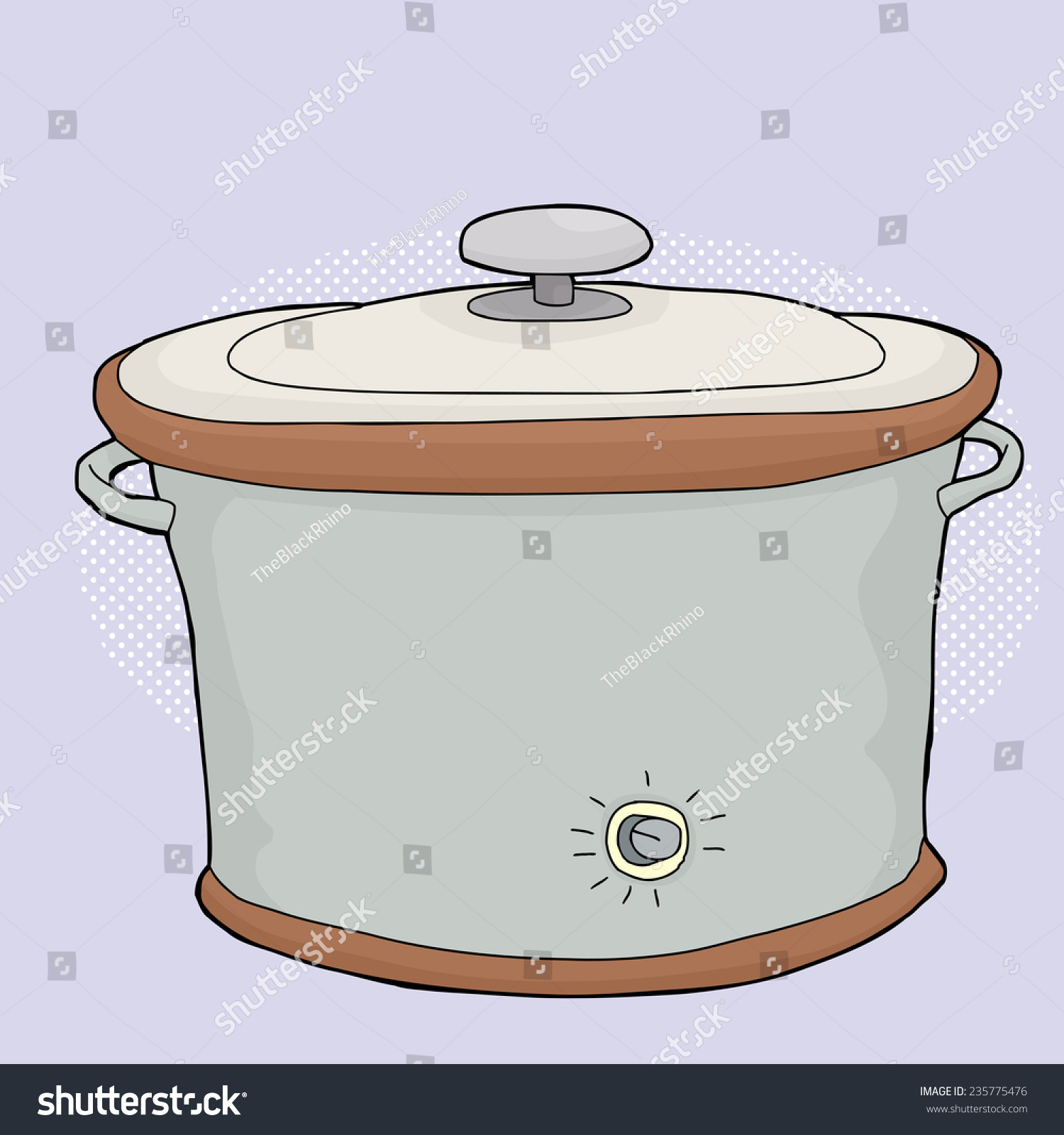 Cartoon Electric Cooker ~ Cartoon electric slow cooker closed lid stock vector