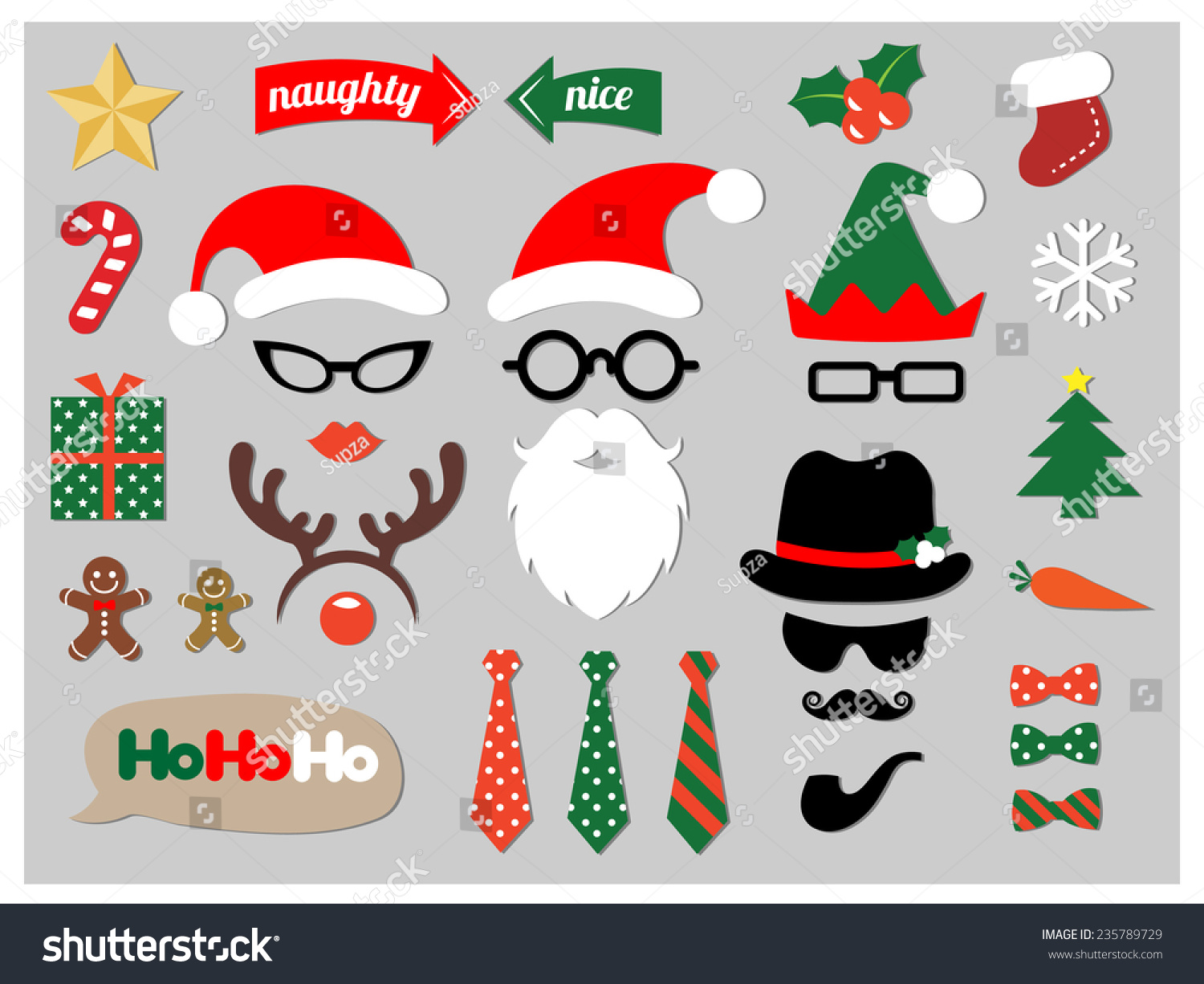 Christmas photo booth props stock vector