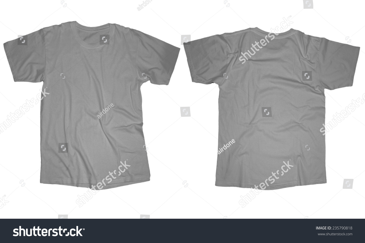 White t shirt front and back template - Wrinkled Blank Grey T Shirt Template Front And Back Design Isolated On White