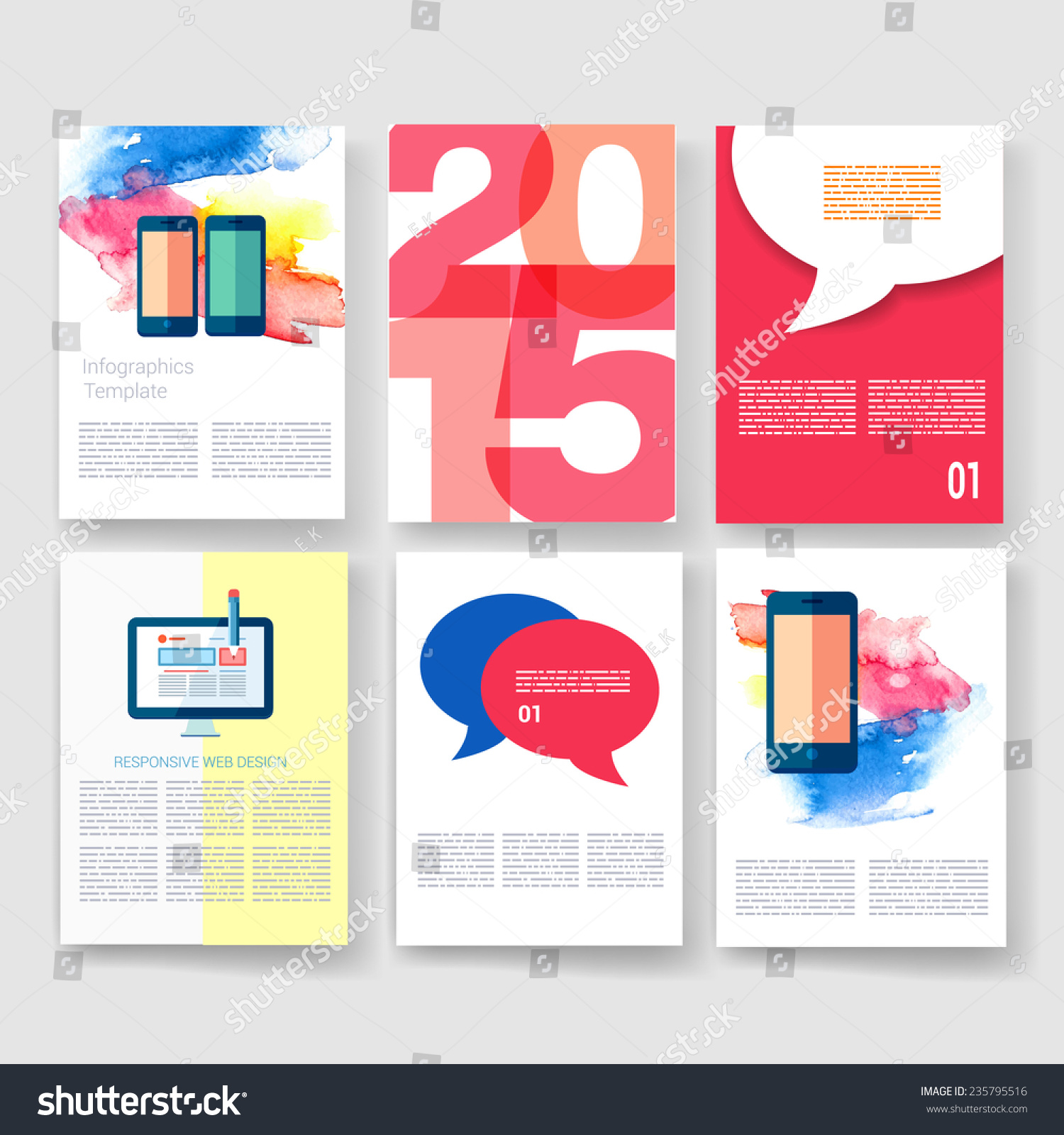 stock vector vector brochure design templates collection ad and infographic concept flyer brochure design 235795516 Top Result 60 Inspirational Paper Ad Design Templates