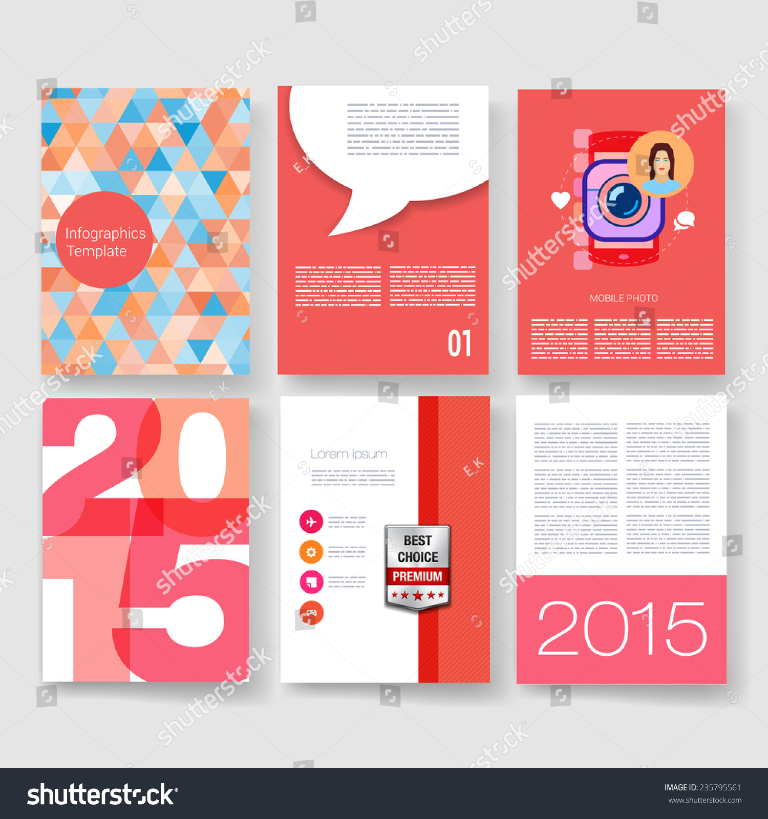 Poster design template - Vector Poster Design Templates Collection Applications And Infographic Concept Flyer Brochure Page Design