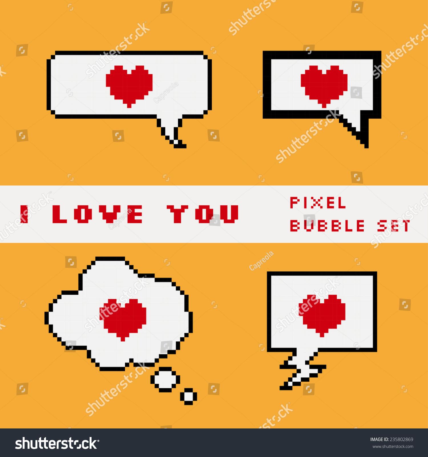Vector Pixel Speech Bubble Set With Hearts