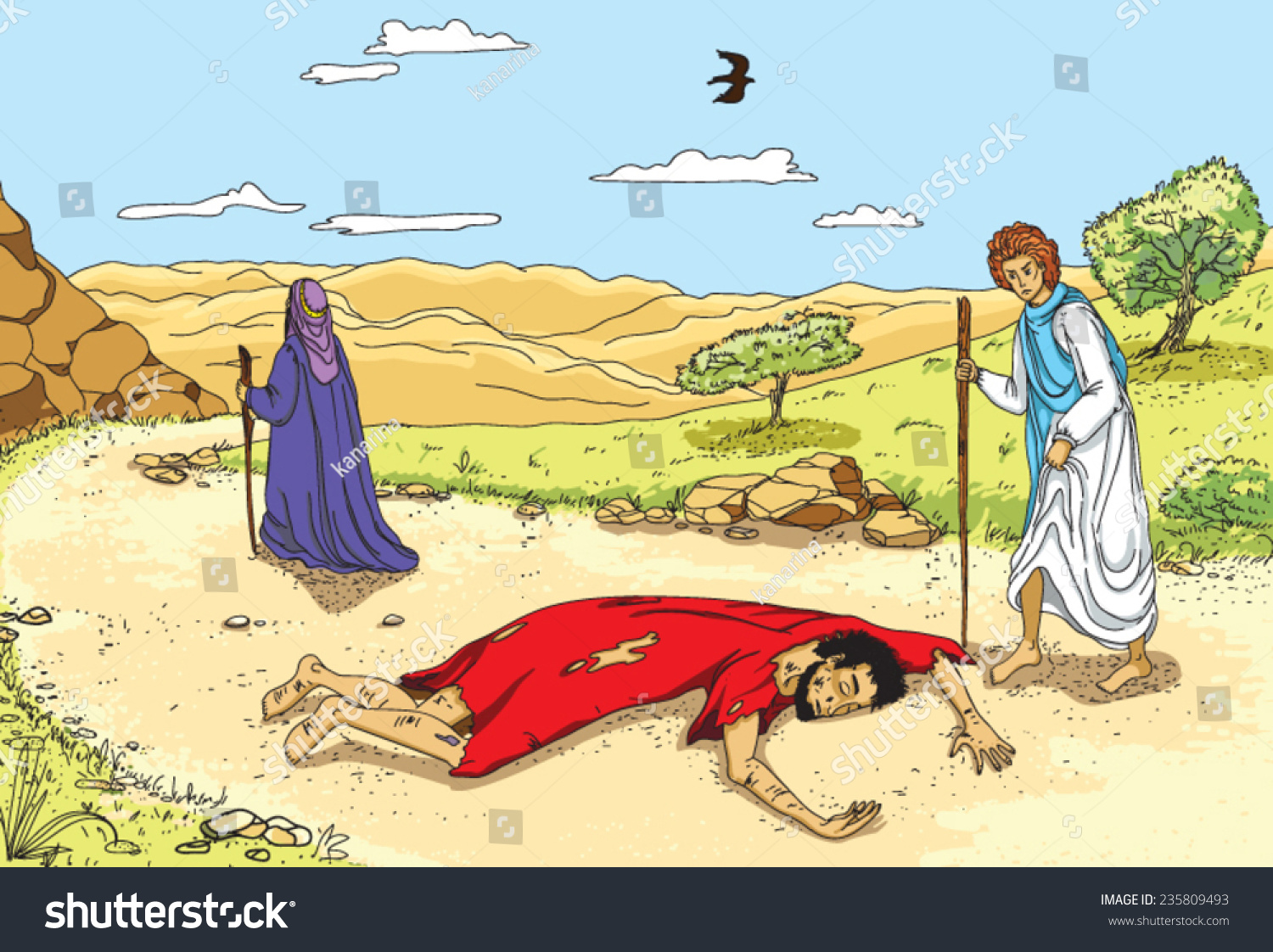 Illustration Parable Good Samaritan Stock Vector 235809493 ...