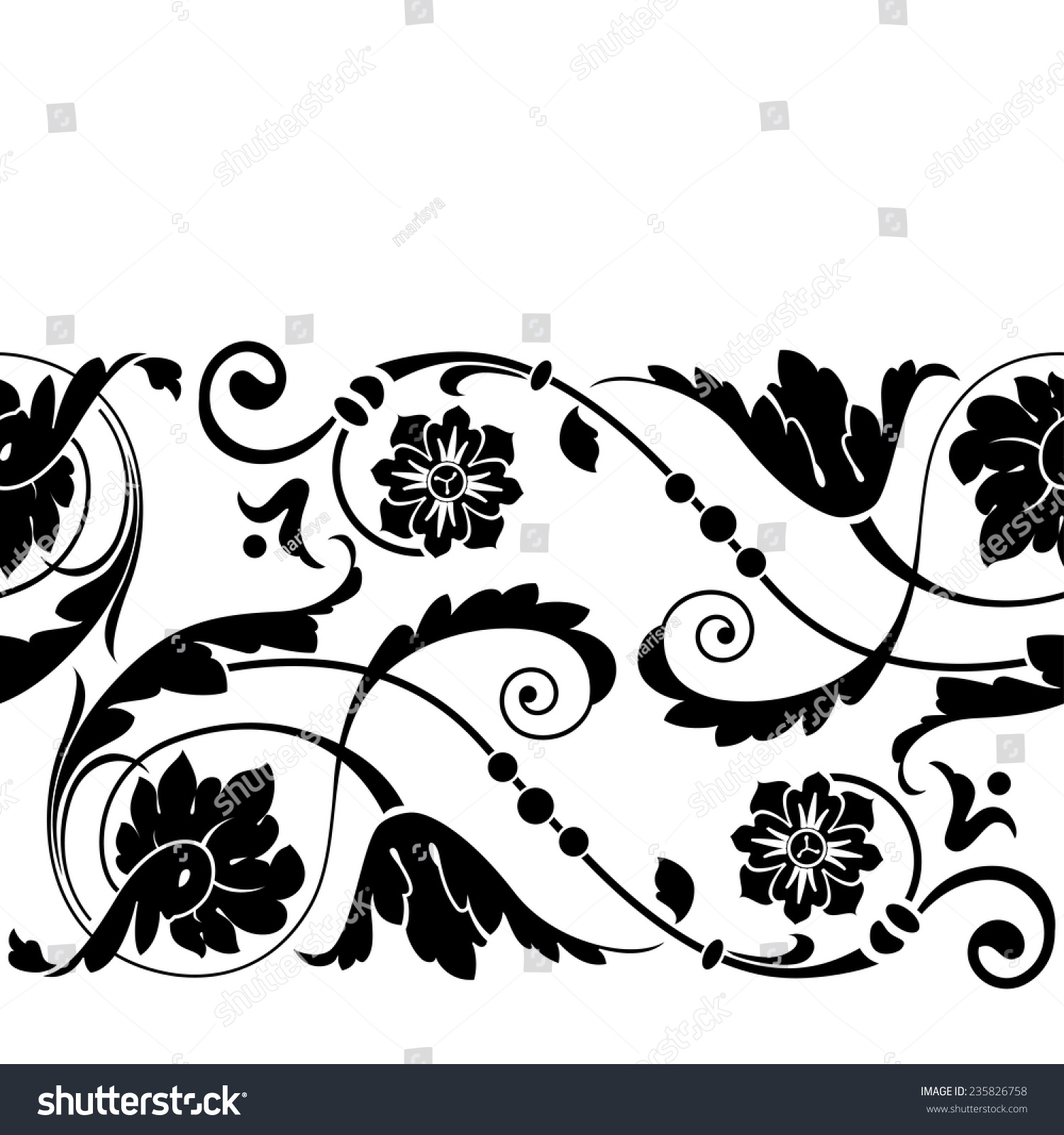 Decorative Black Flower Border Stock Image: Decorative Stylized Border Floral Elements Stock Vector