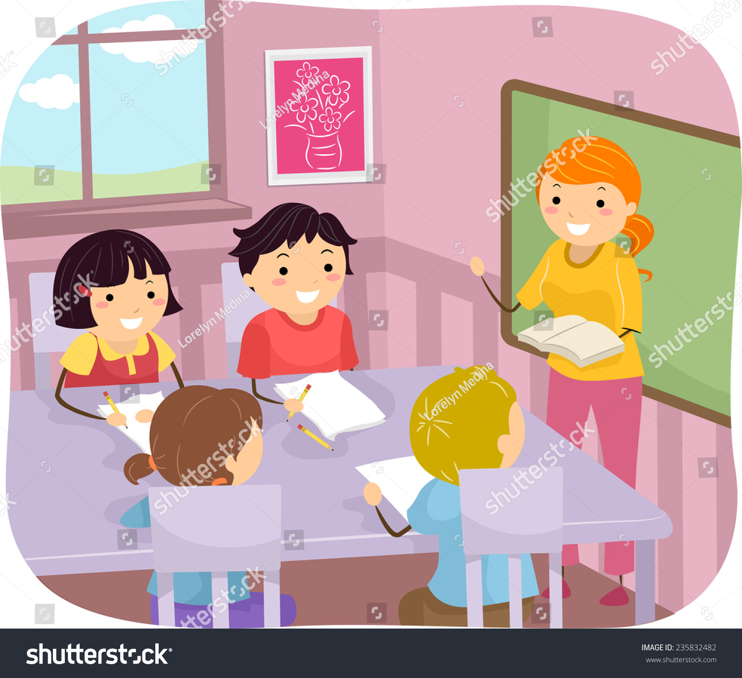 illustration young students listening their teacher stock